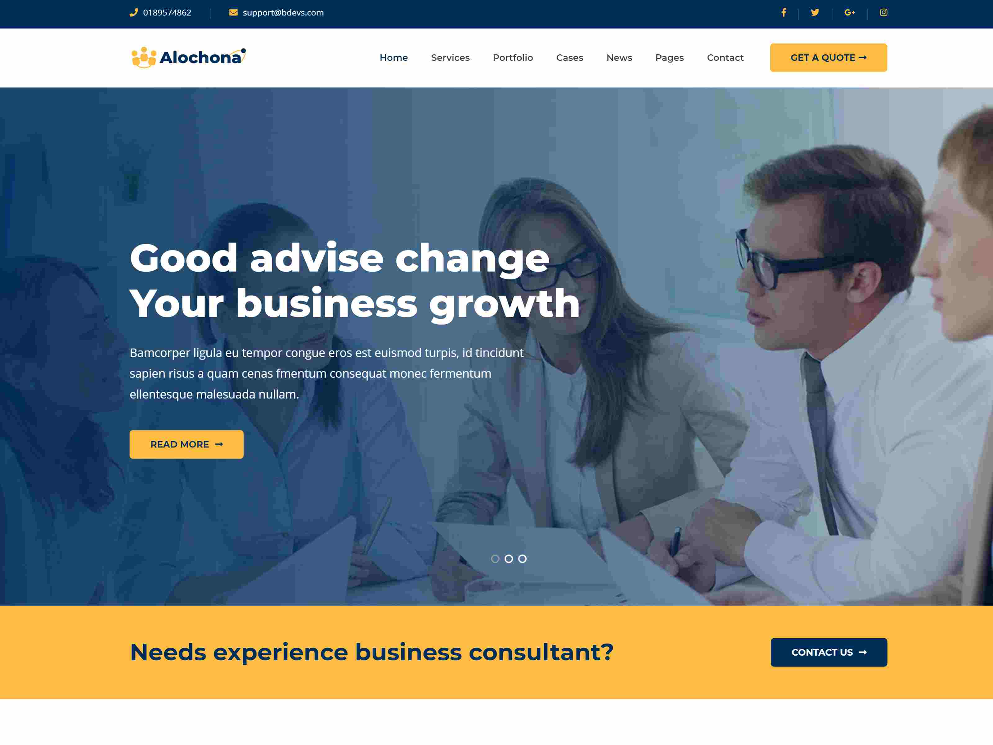 Alochona - Business Consulting WordPress Theme + RTL Insurance Company WordPress Themes