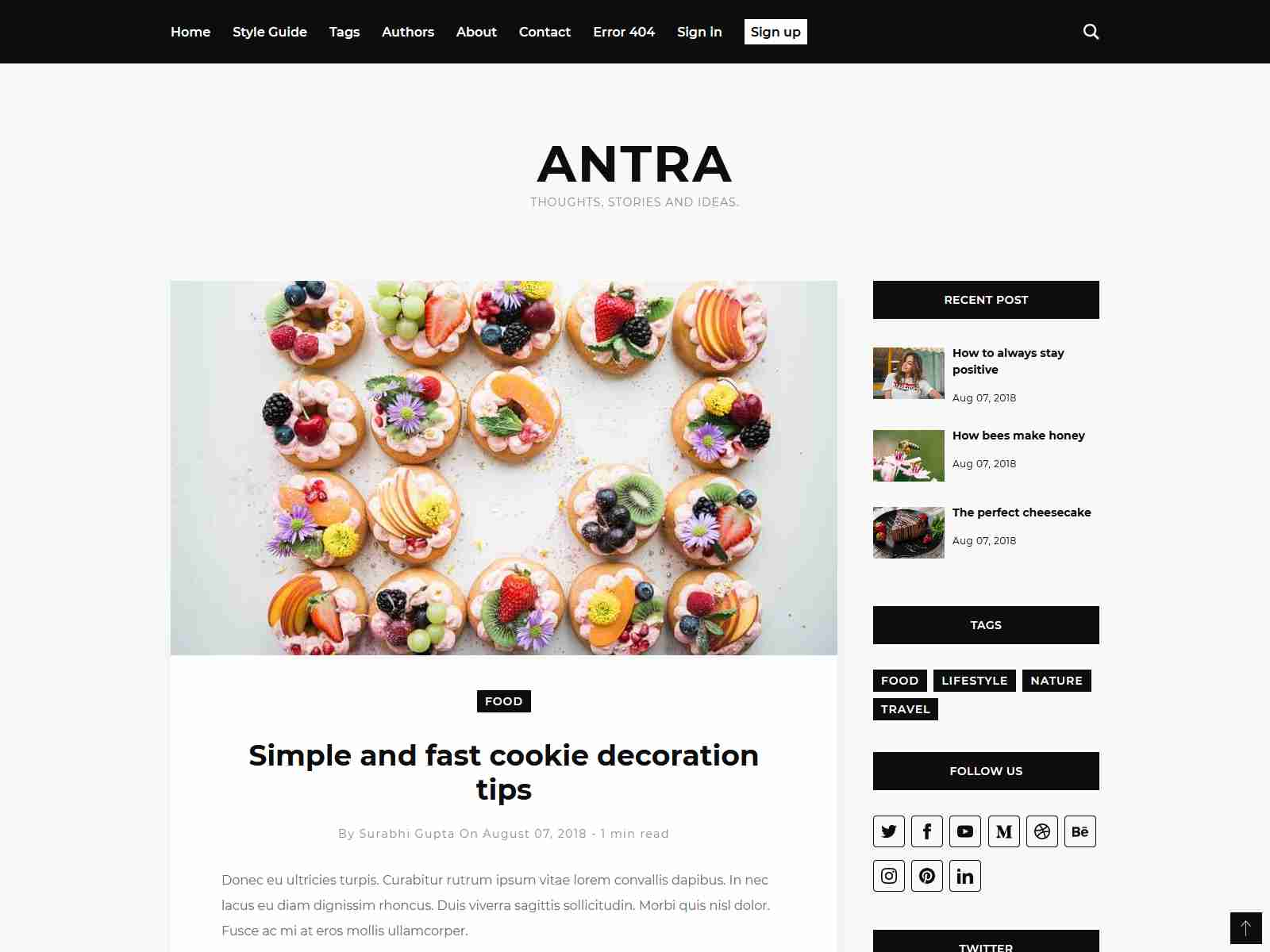 Antra - Minimal Content Focused Ghost Blog Theme