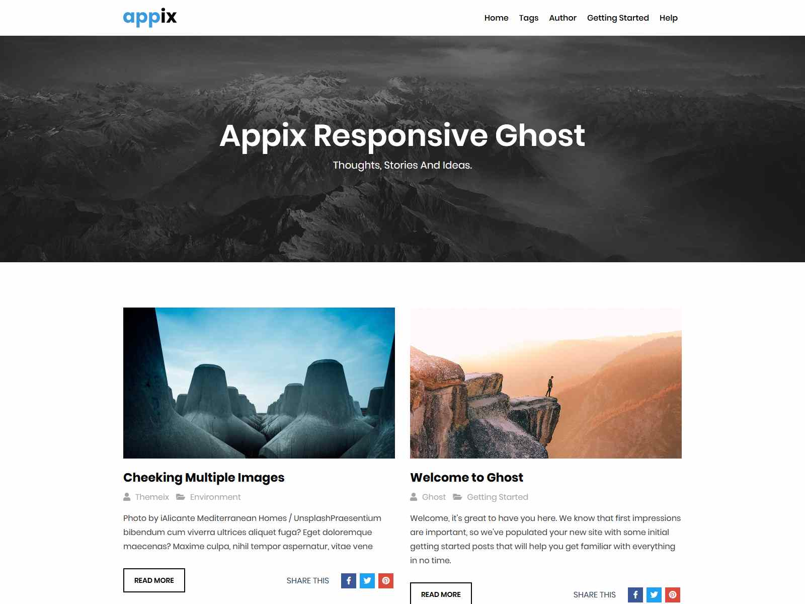 Appix - Minimal and Content Focused Ghost Blogging Theme (Bootstrap 4)