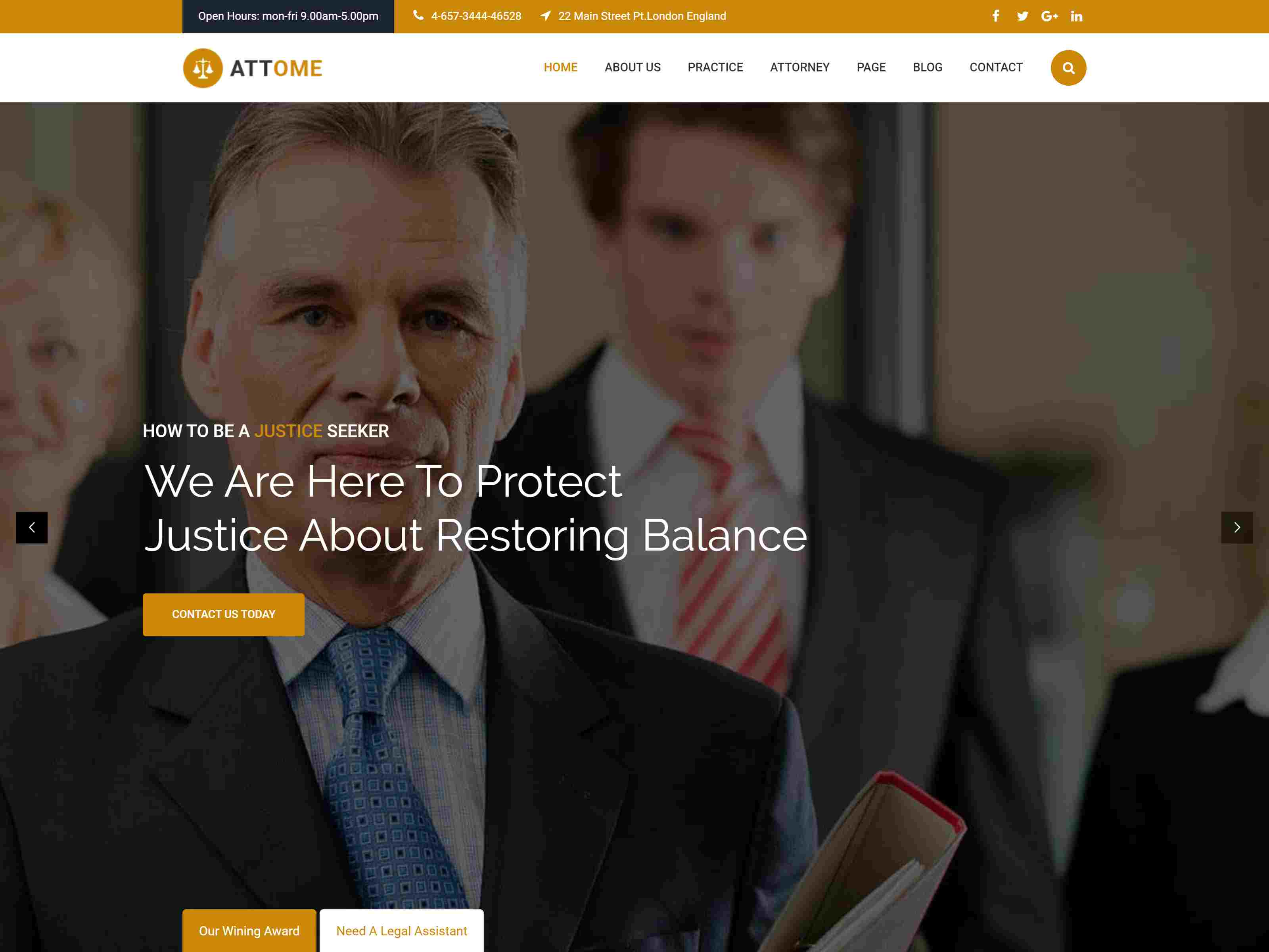 Attome | Lawyer & Attorney Responsive WordPress Theme