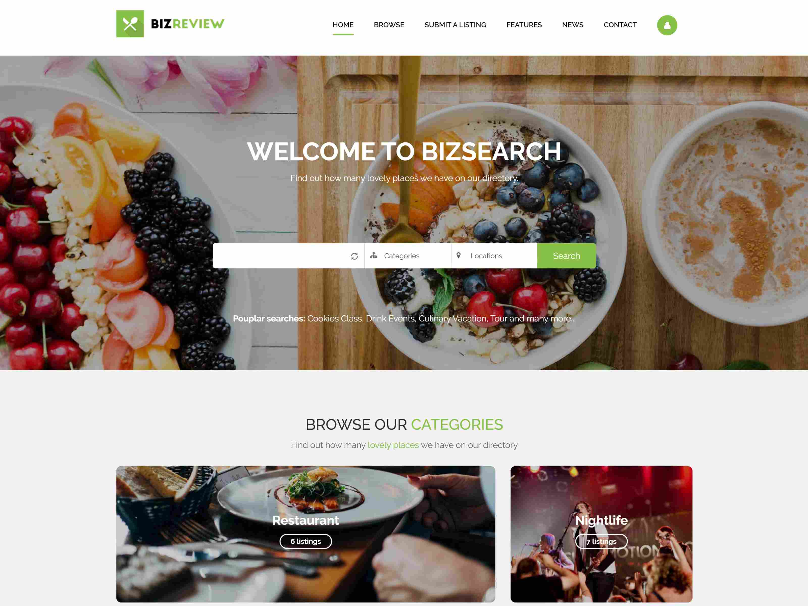 BizSearch - Directory and Listing Drupal Theme Restaurant Drupal Themes