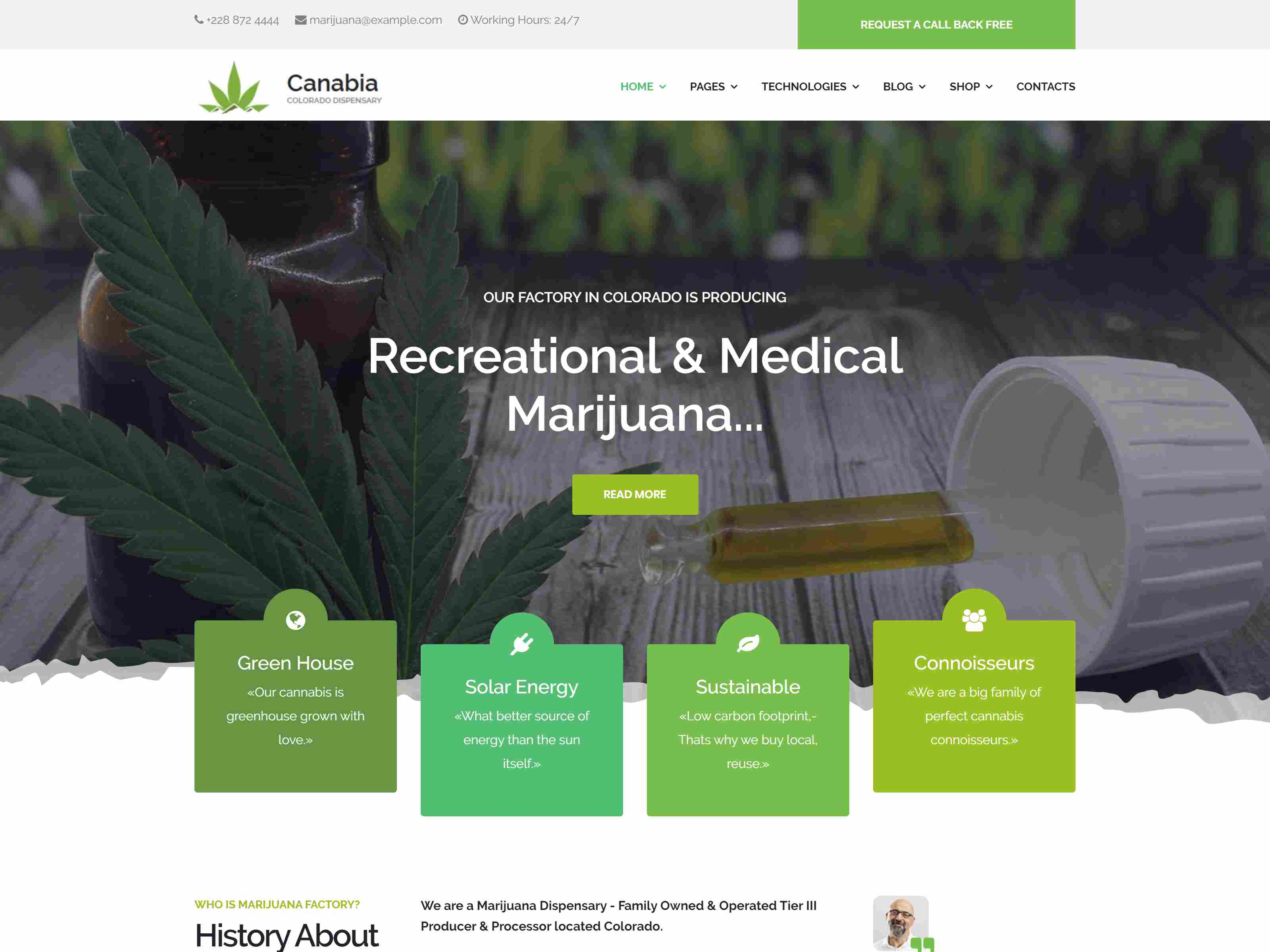 Canabia - Medical Marijuana Dispensary Joomla Template With Page Builder