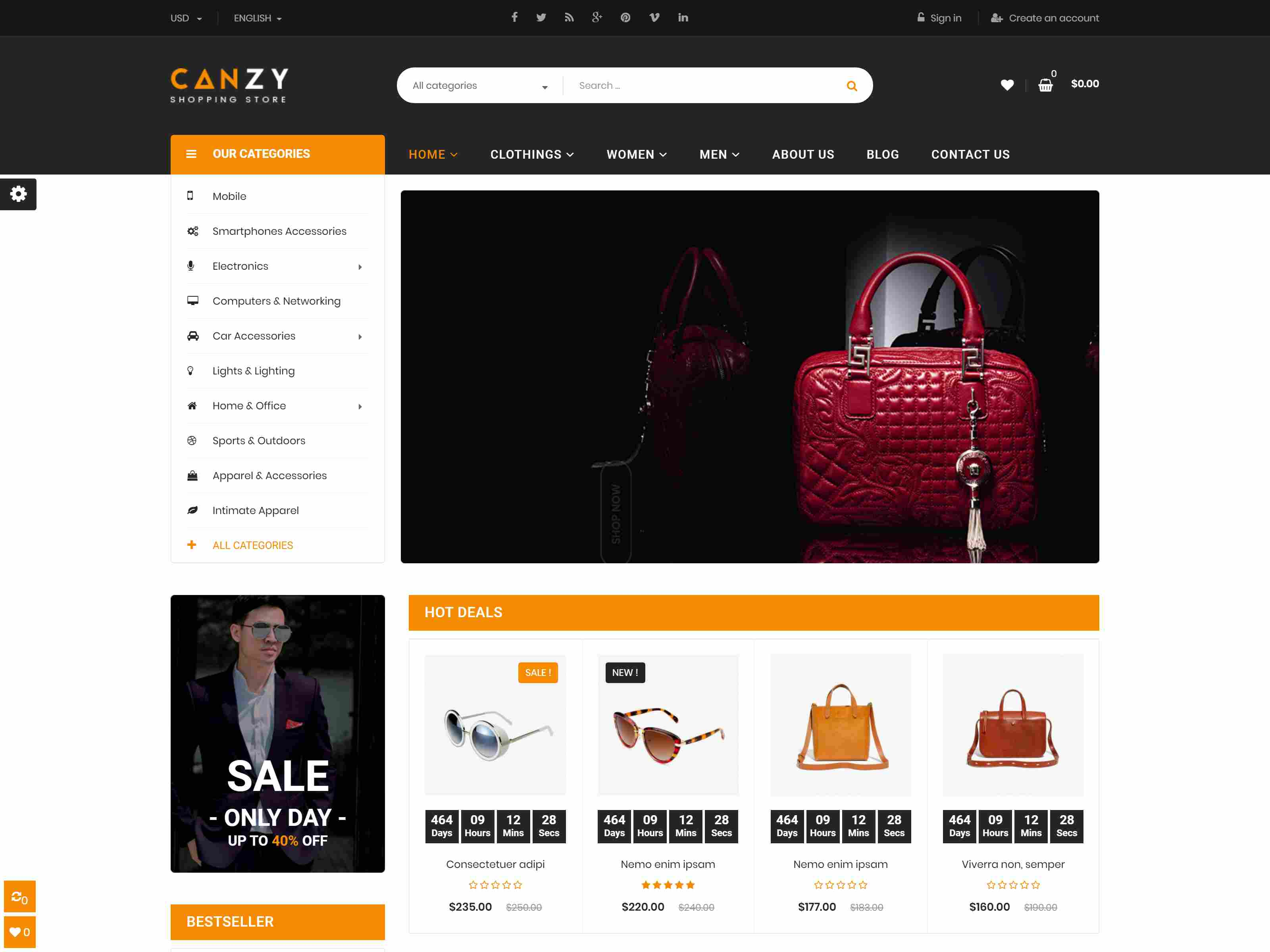 Canzy - Shopping Handbags and Clothes PrestaShop 1.7 Theme