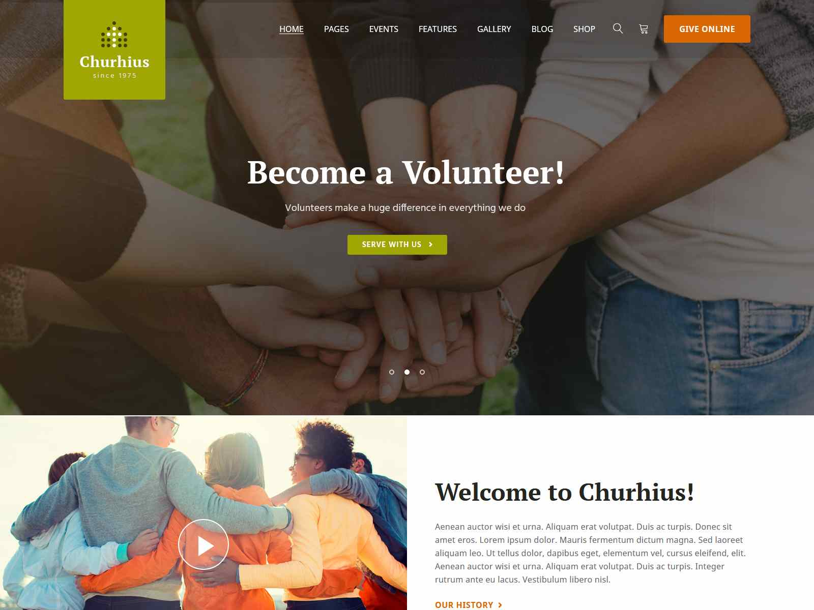 Churhius - Church Religion WordPress Theme fundraising WordPress theme
