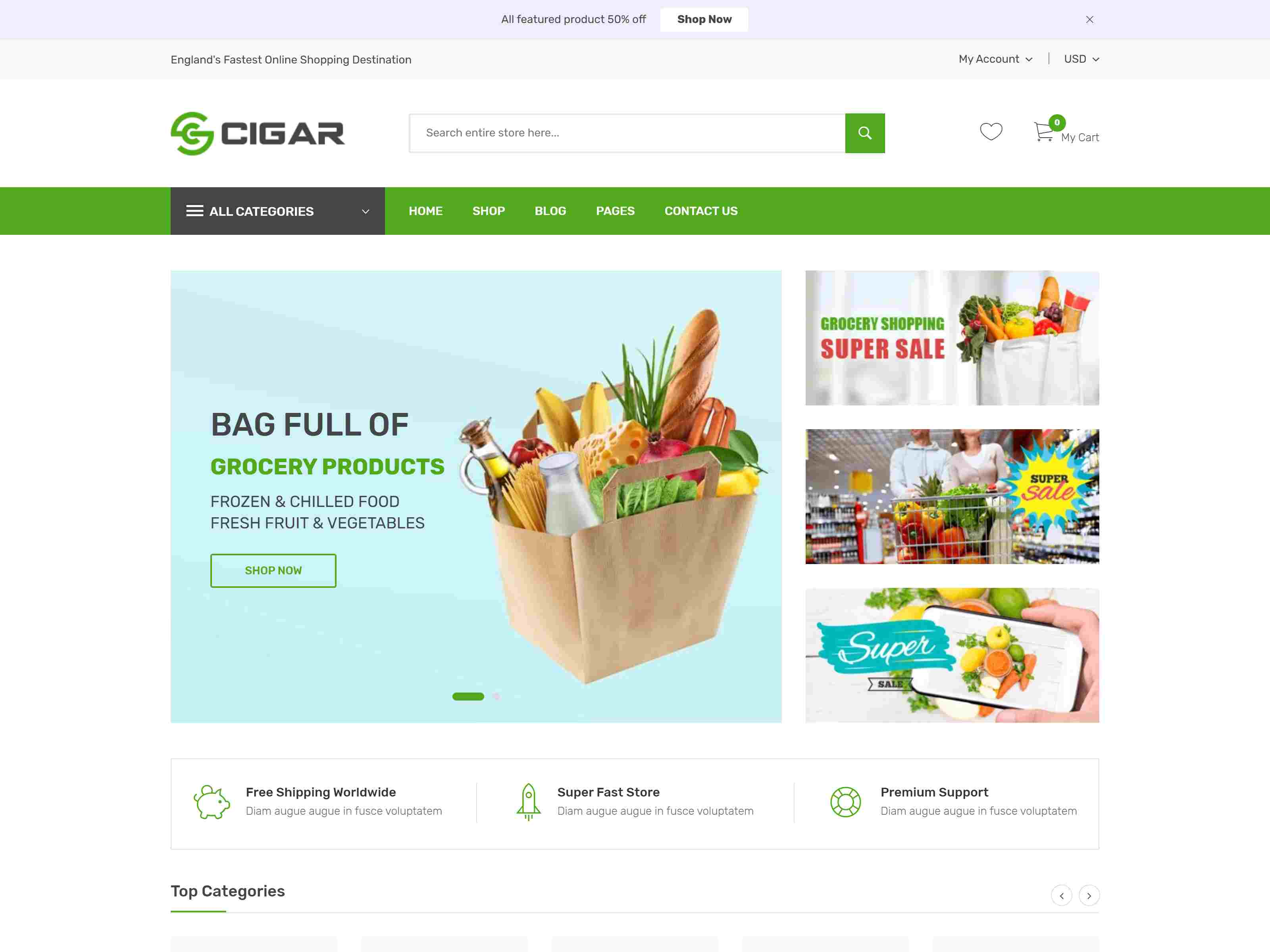 Cigar - Grocery & Electronics Store Shopify Theme