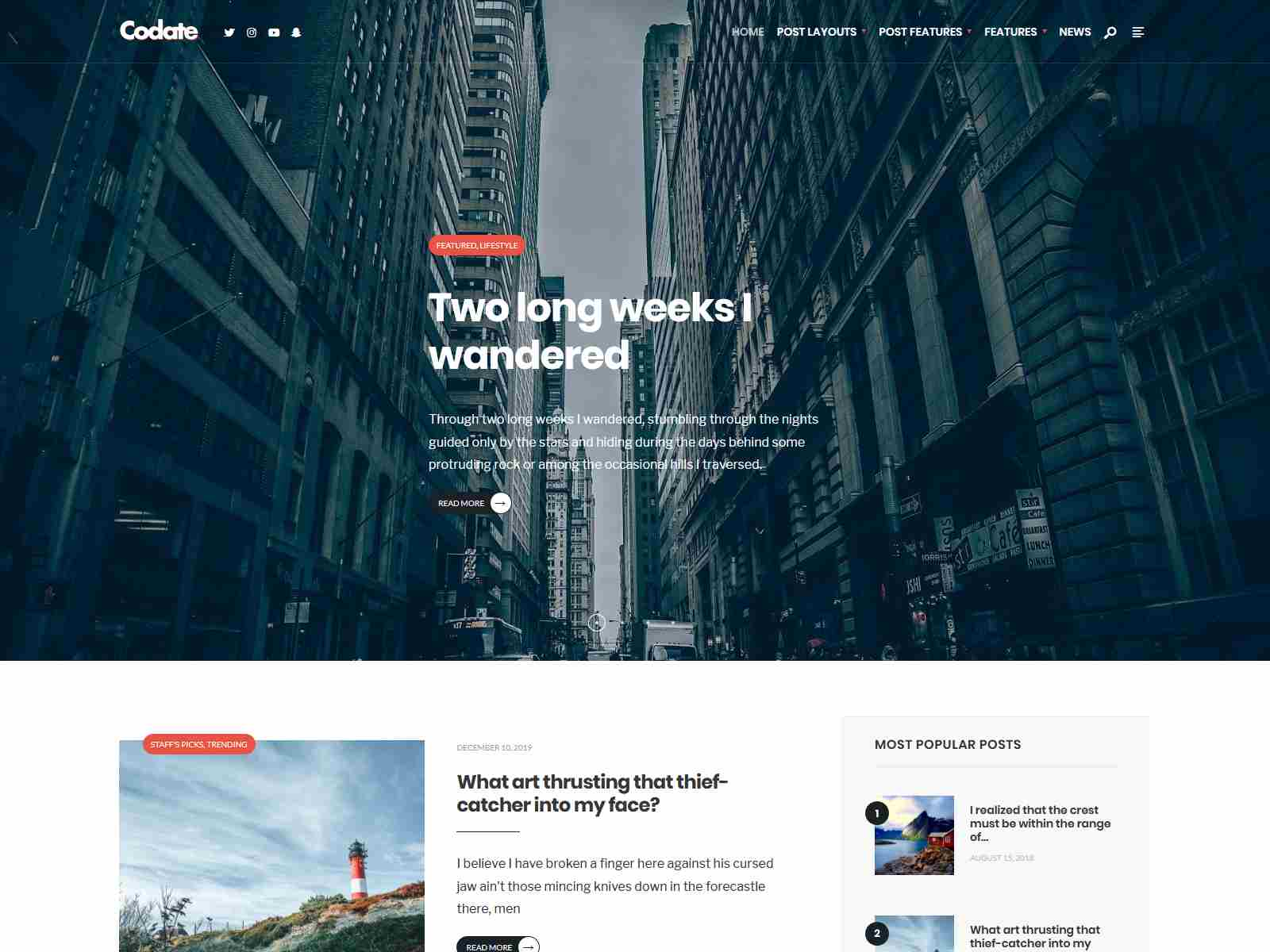 Codate - Modern Magazine and Blog theme