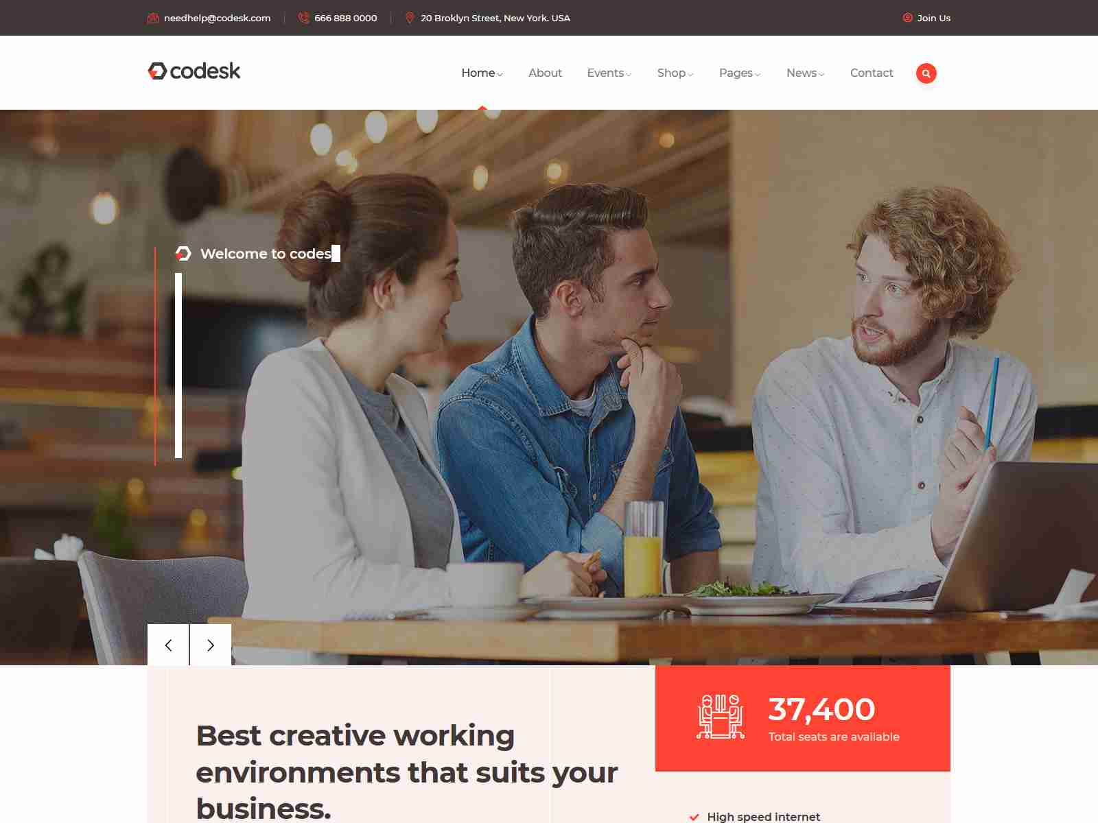Codesk - Creative Office Space WordPress Theme