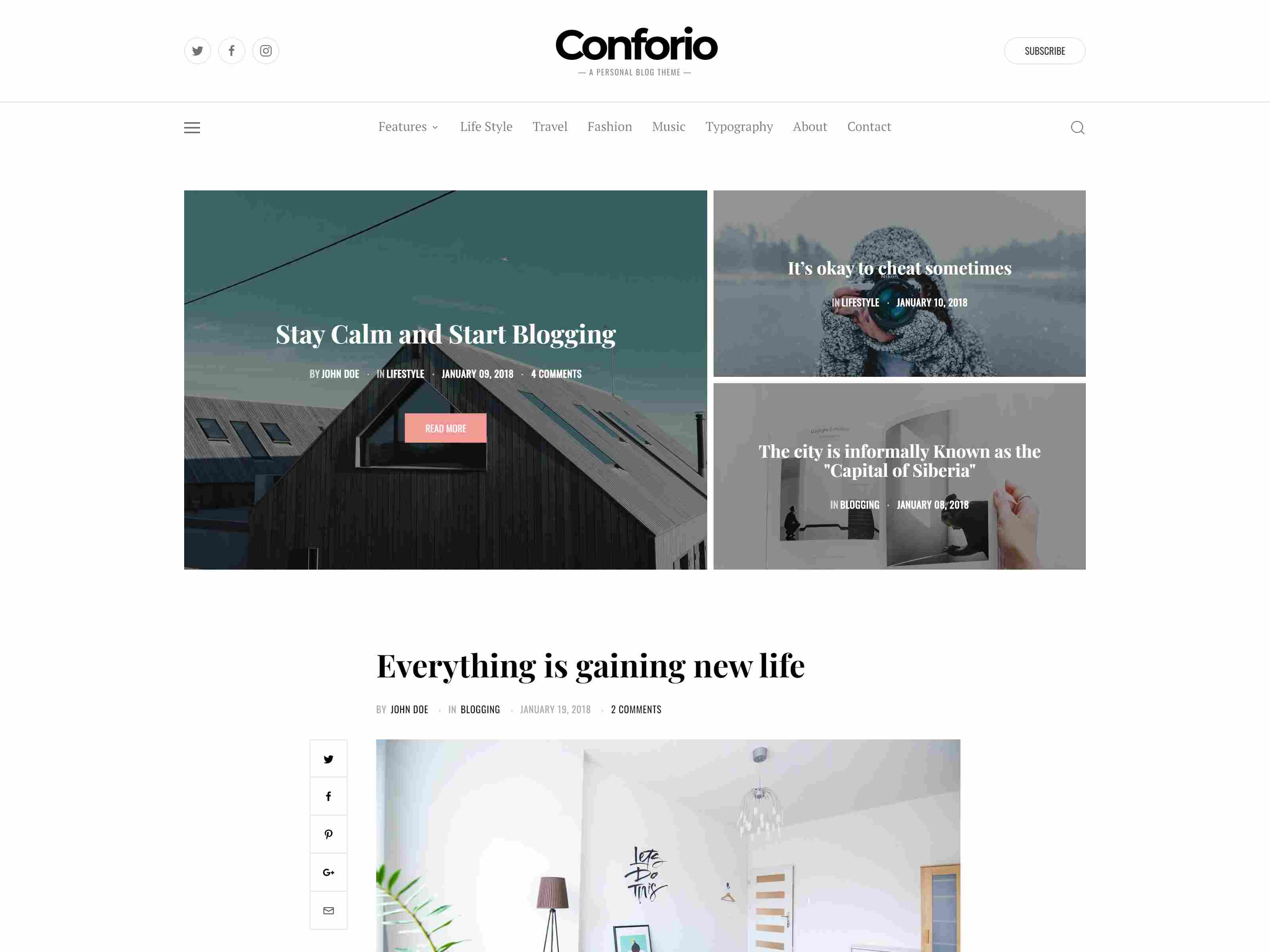 Conforio - A Personal Blogger Blog Theme