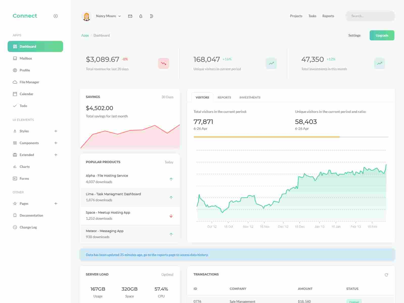 Connect - Responsive Admin Dashboard Template