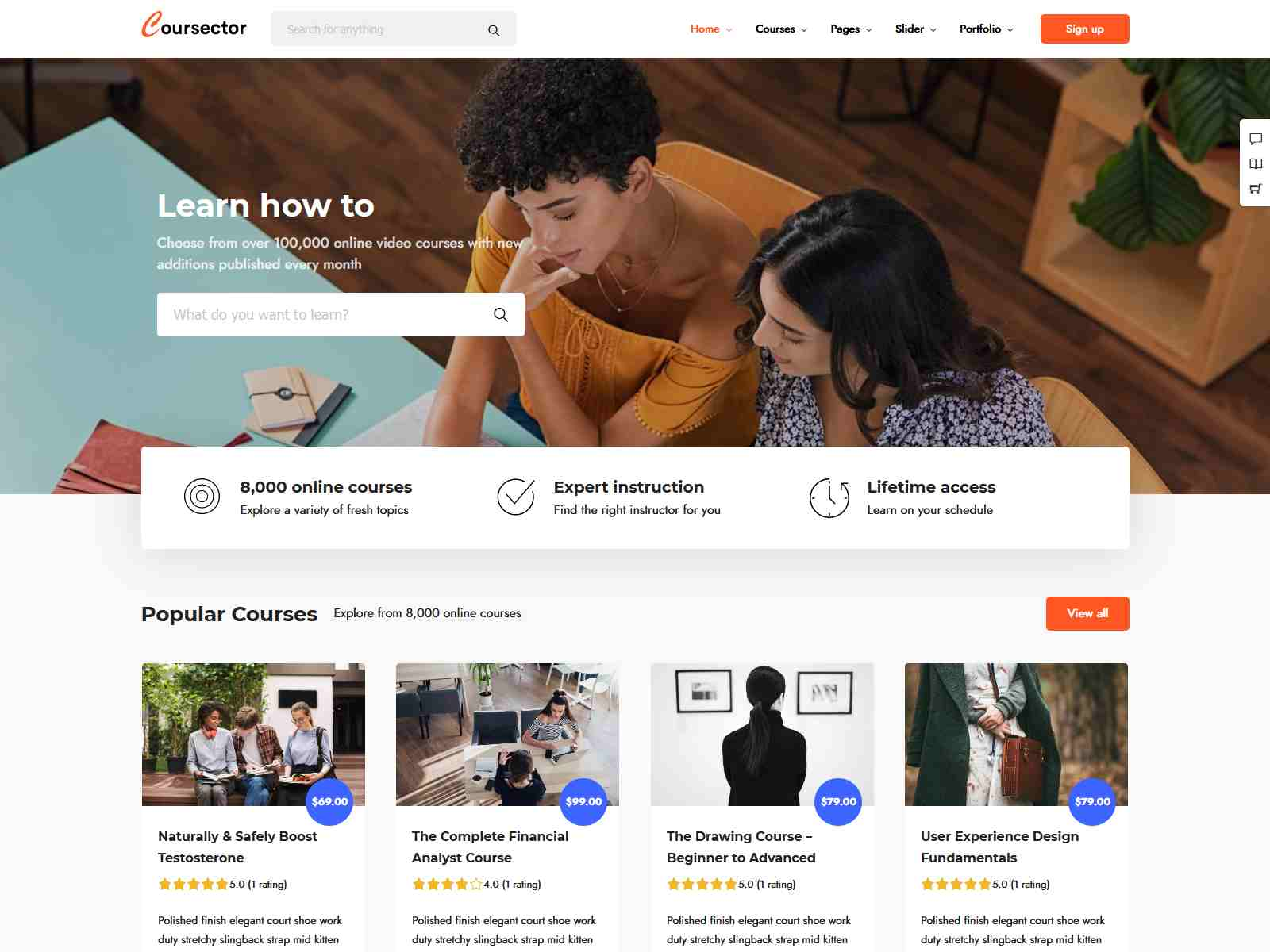 Coursector | LMS Education WordPress lms wordpress theme