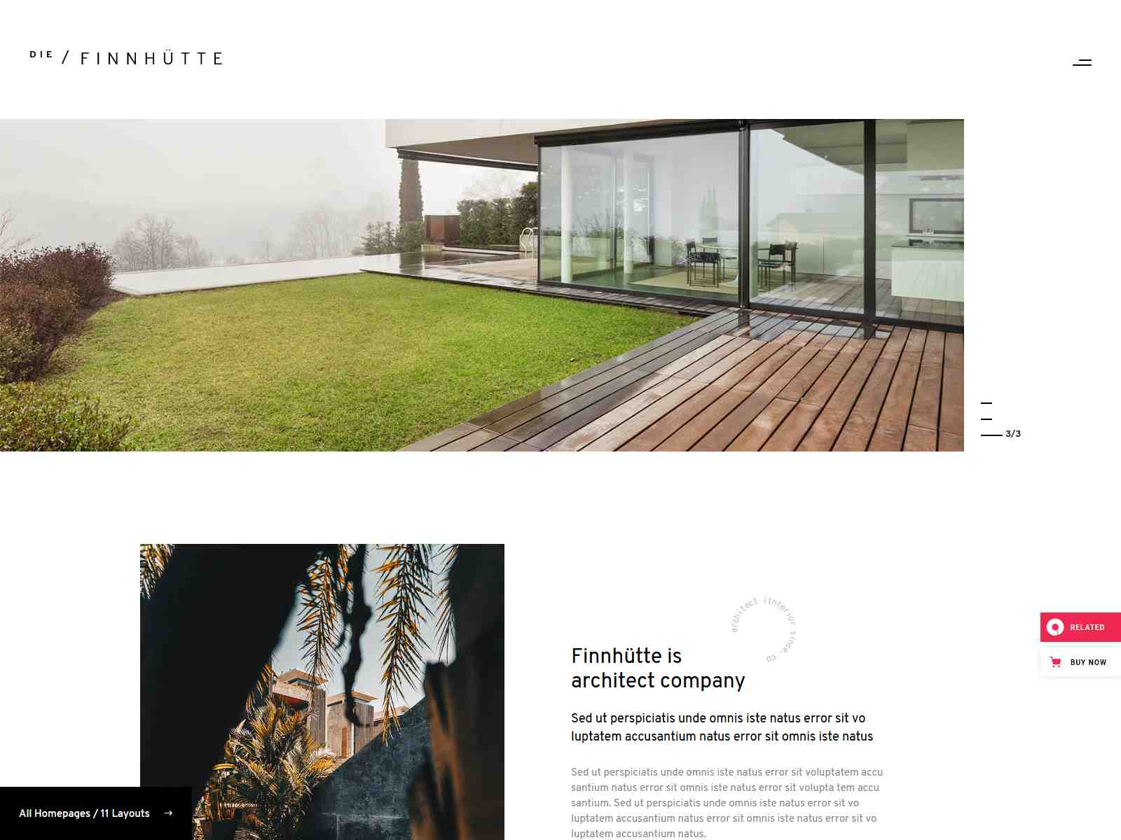 Die Finnhütte - Modern Architecture and Interior Design Theme architecture wordpress themes, real estate wordpress theme
