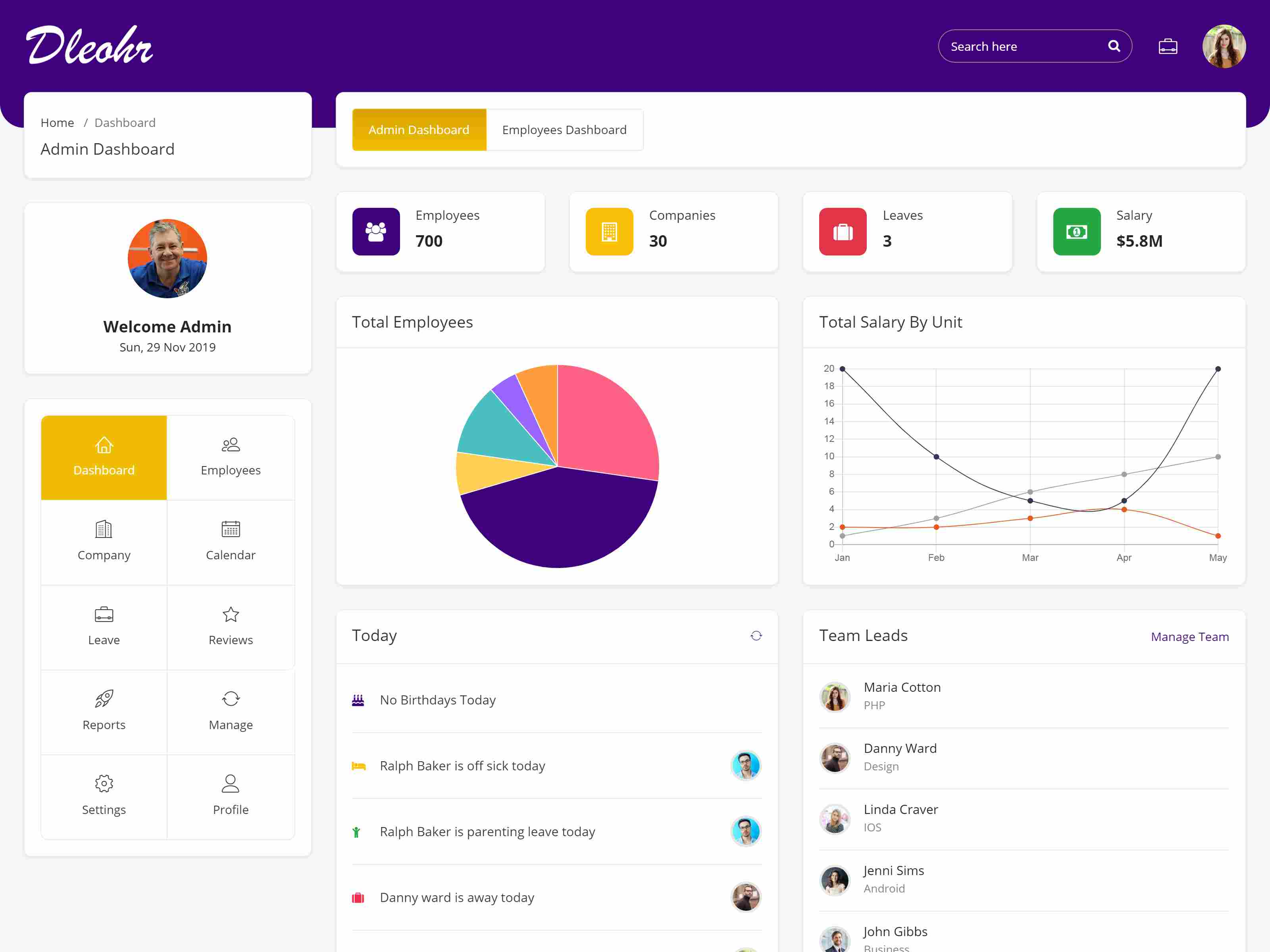 Dleohr - Leave & Employee HR Management Bootstrap 4 Admin Template