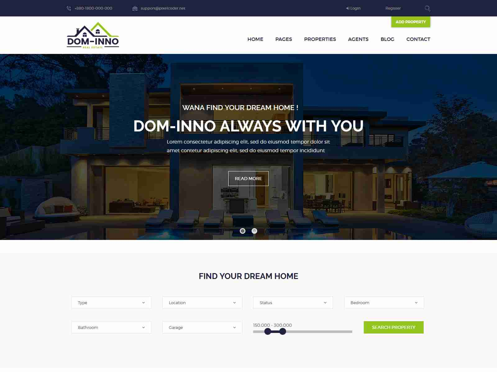 Dominno Real Estate WordPress Theme real estate wordpress themes