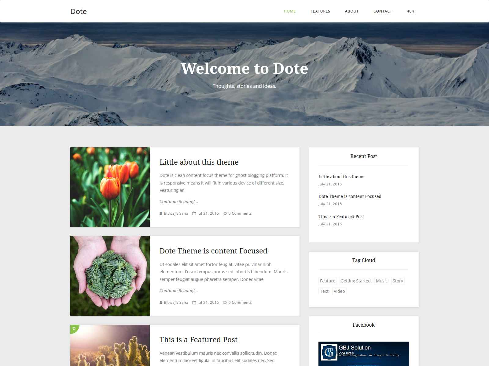 Dote - Responsive Minimal Ghost Theme ghost themes