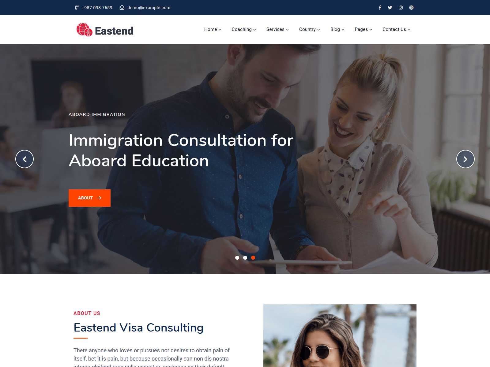 Eastend – Immigration Visa Consulting WordPress Theme Consulting Firms WordPress Themes