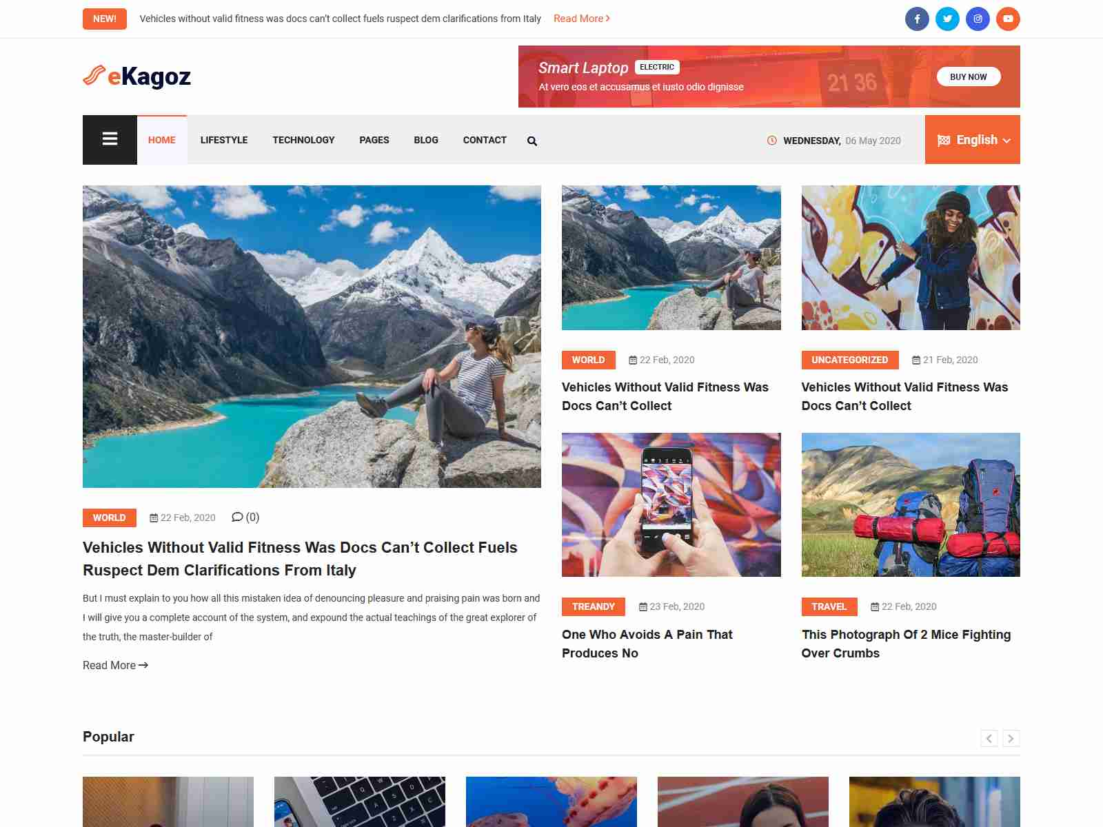 eKagoz - News Magazine WordPress Theme wordpress news themes