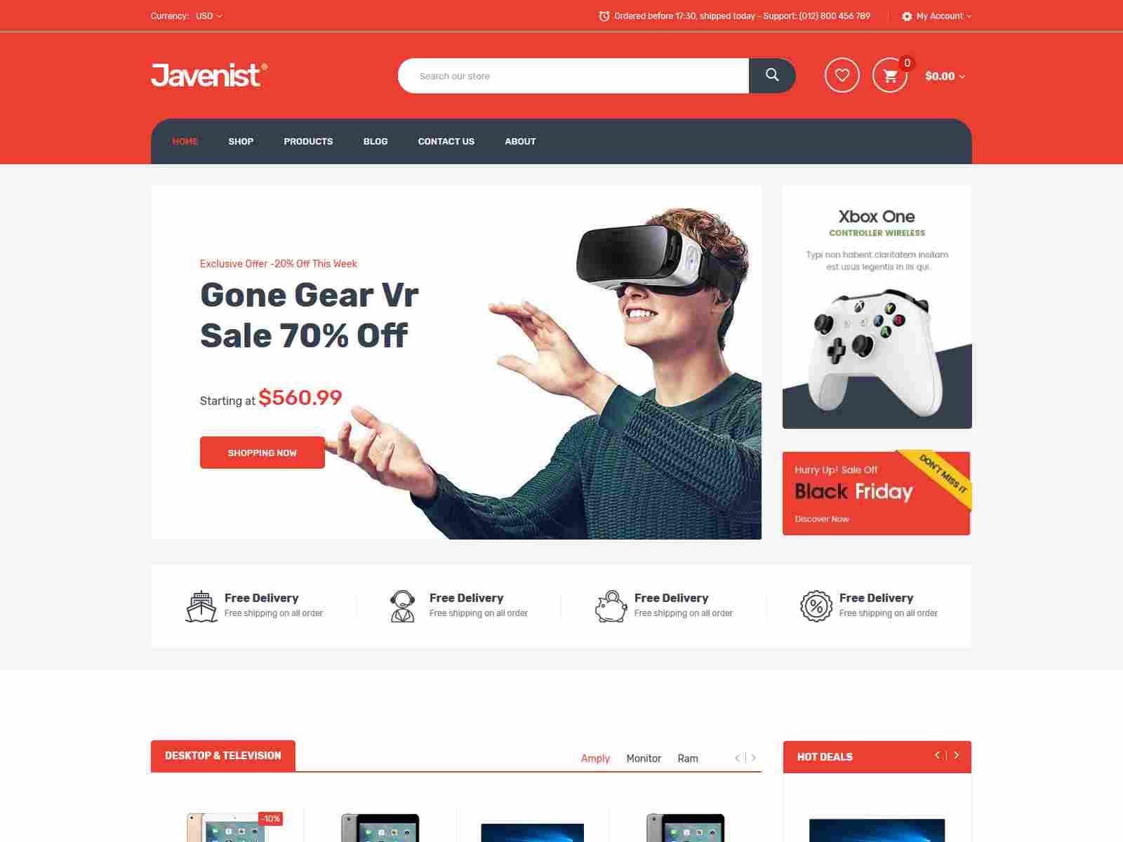 Electronics, Food, Tools Store Shopify Theme - Javenist