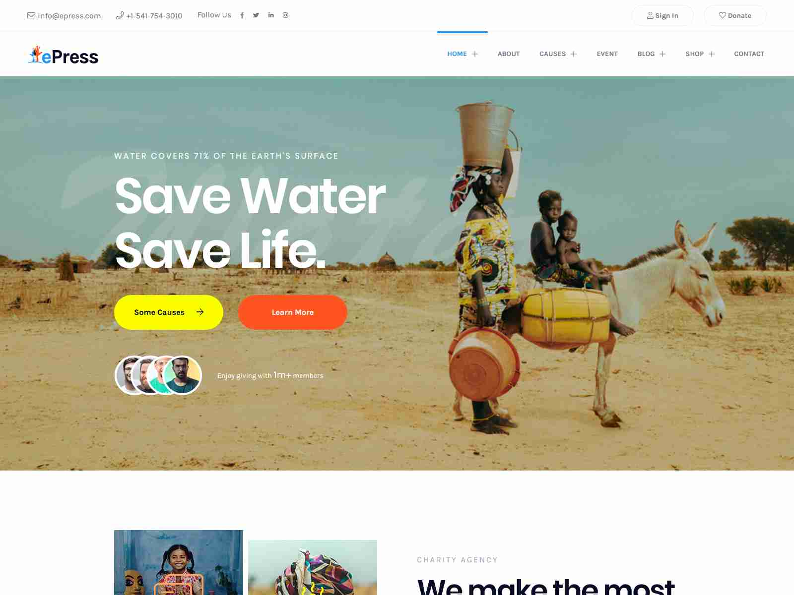 ePress - Charity Theme fundraising WordPress theme