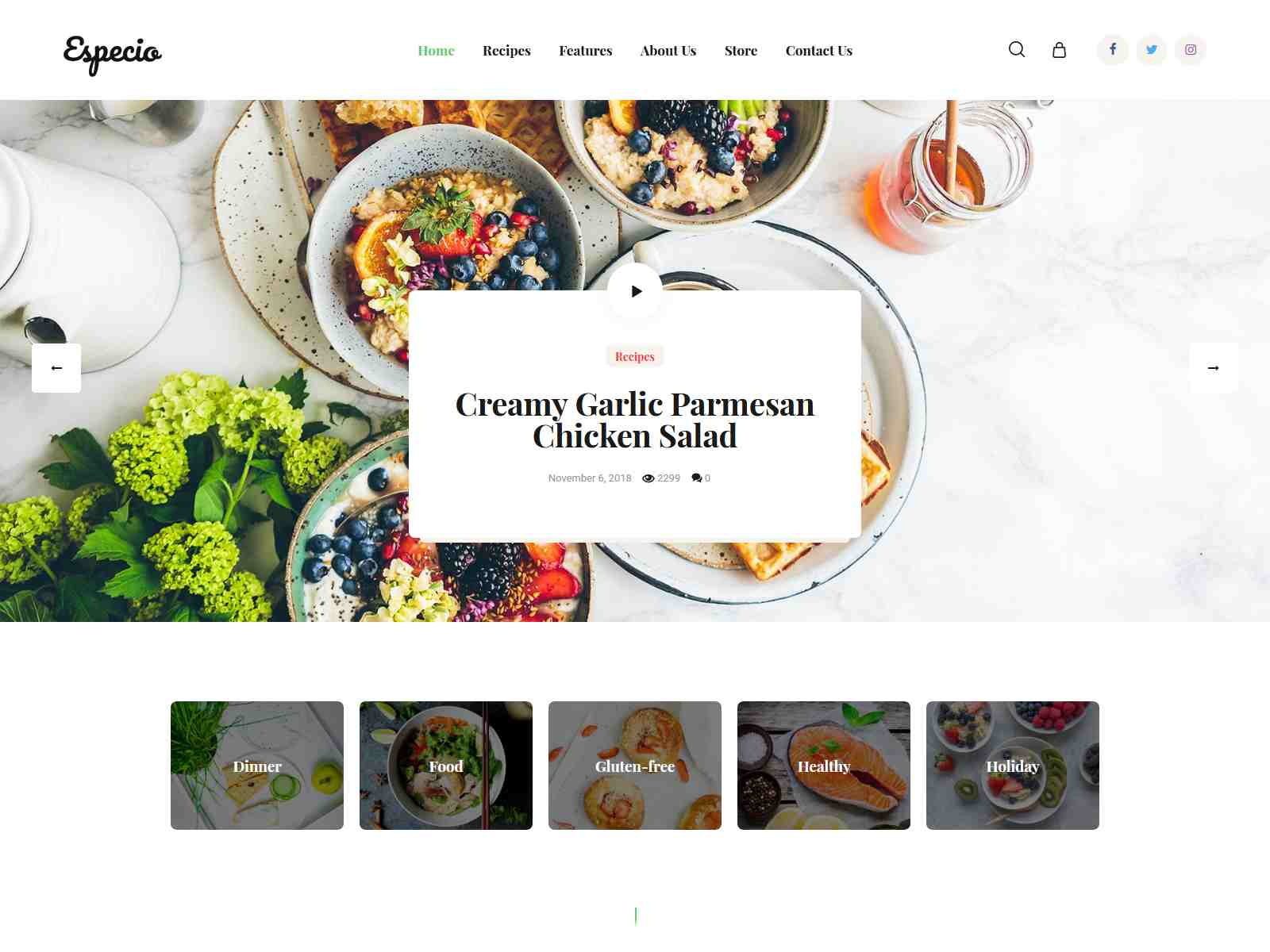 Especio | Personal Gutenberg Food Blog WordPress Theme