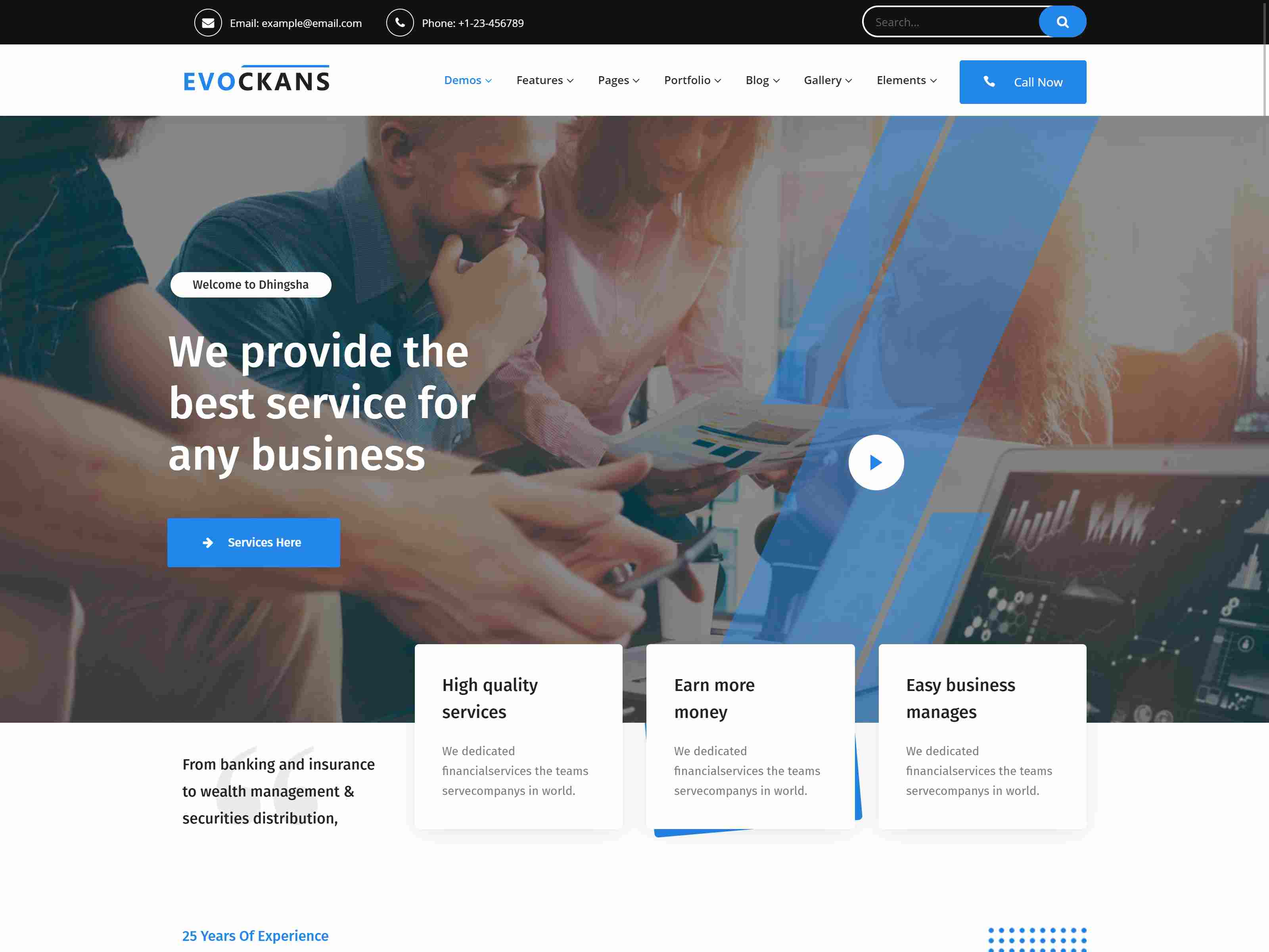 Evockans - Responsive Multi-Purpose WordPress Theme Insurance Company WordPress Themes