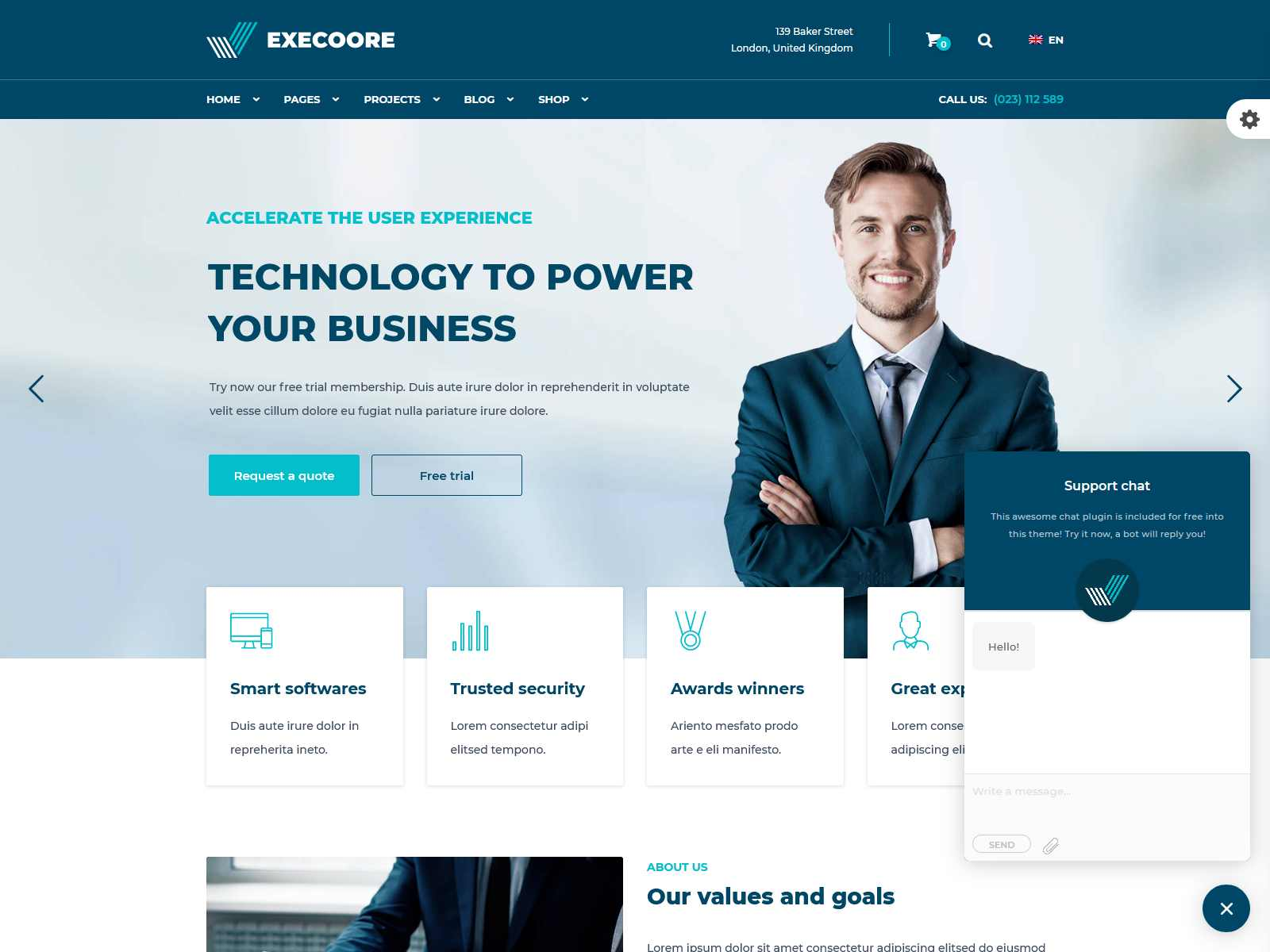 Execoore - Technology And Fintech Theme Insurance Company WordPress Themes