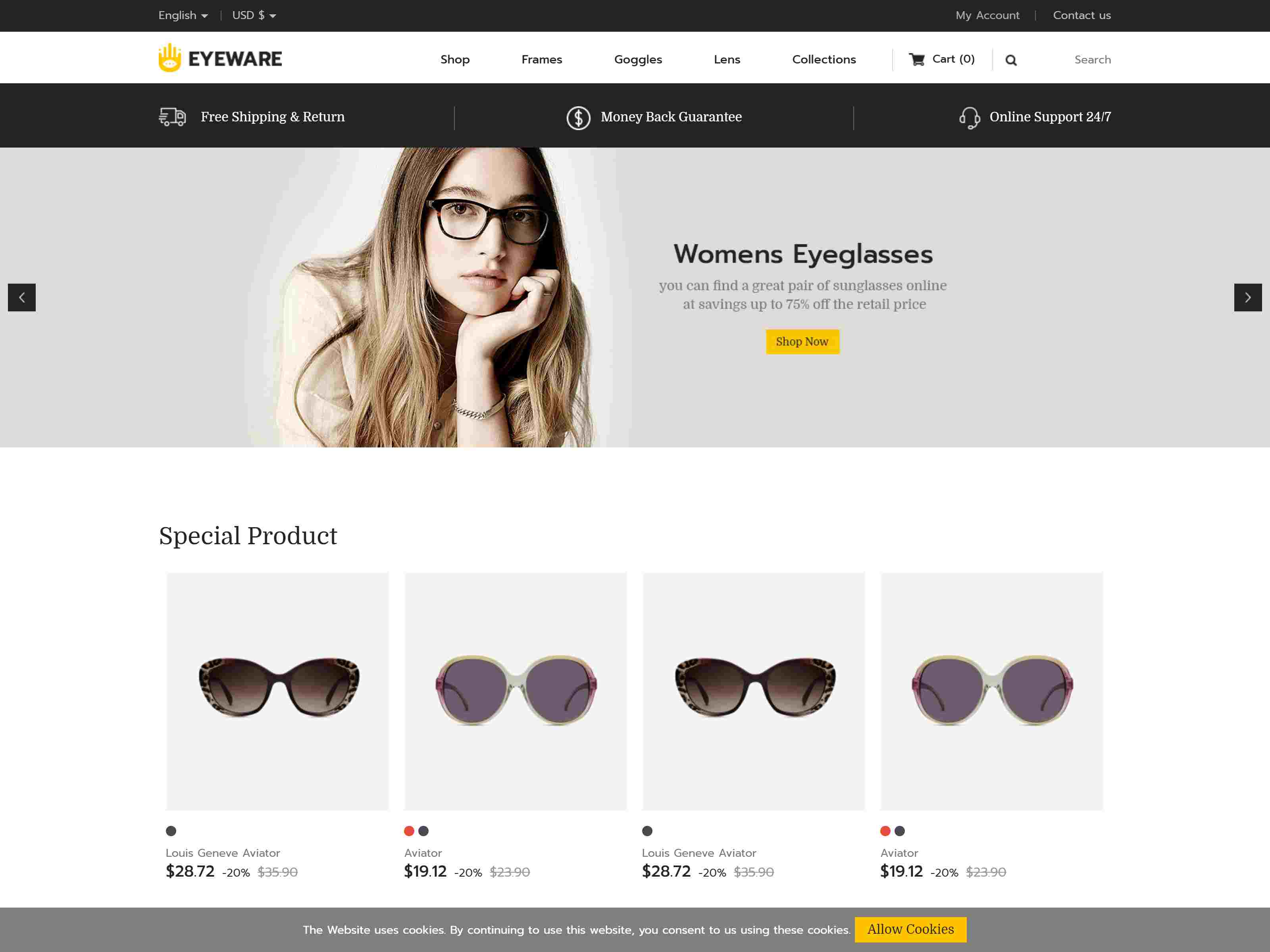 Eyeware Fashion - Responsive Prestashop 1.7 Theme
