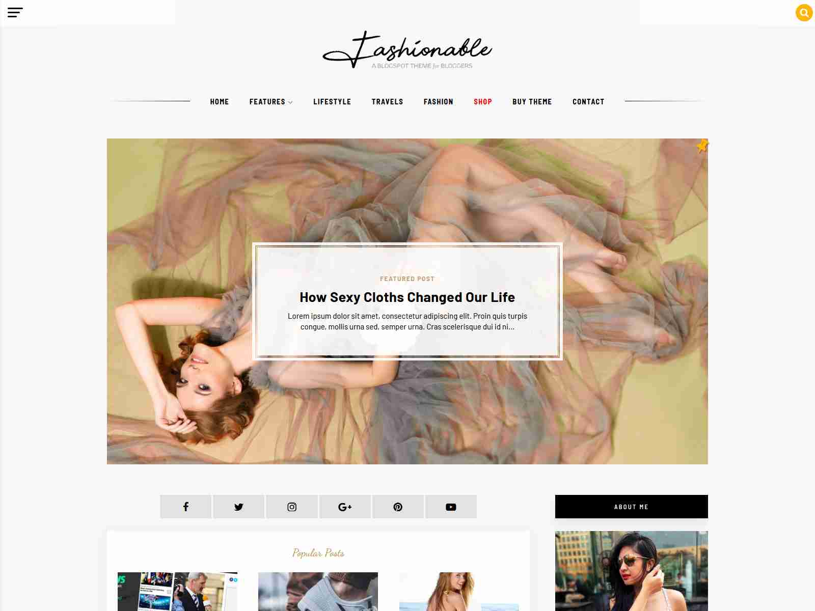 Fashionable - A Blogger Template Blog & Simple Shop Theme News Blogger Template