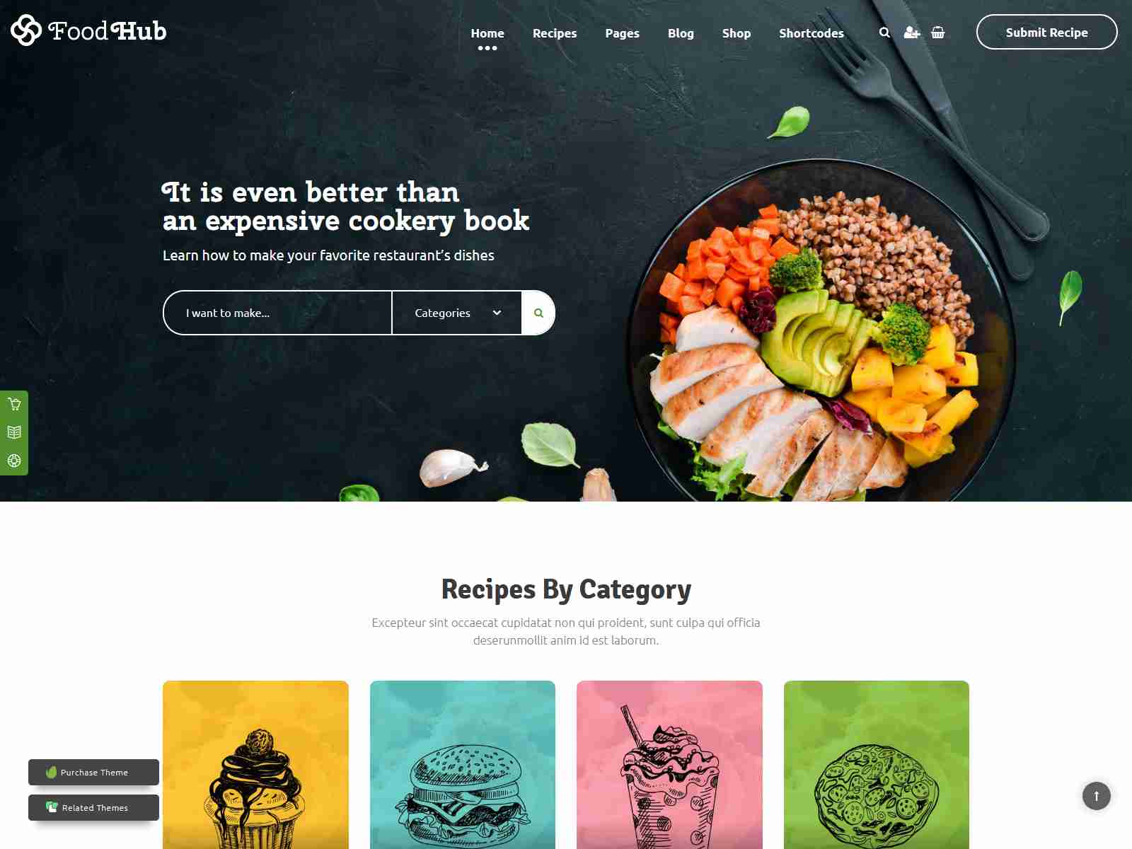 Foodhub - Recipes WordPress Theme wordpress news themes