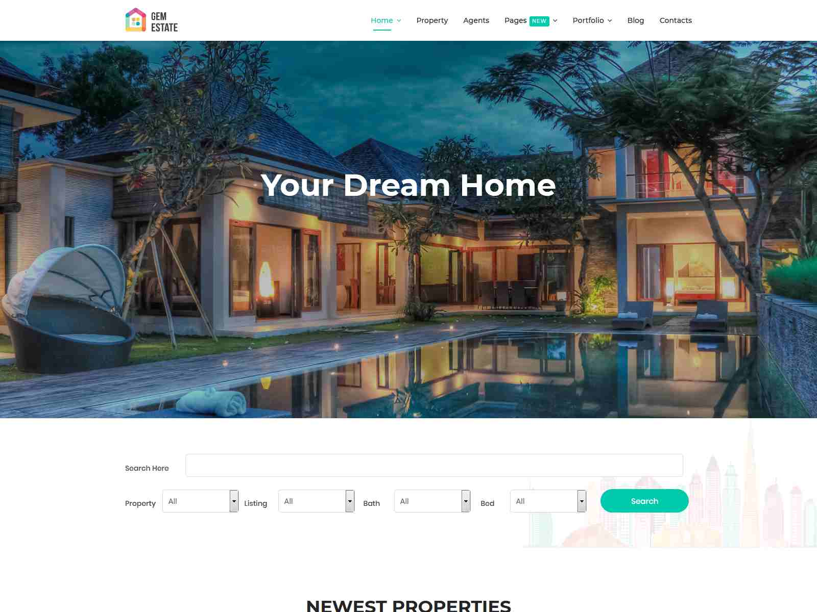GemEstate Real Estate, Propety Joomla Template