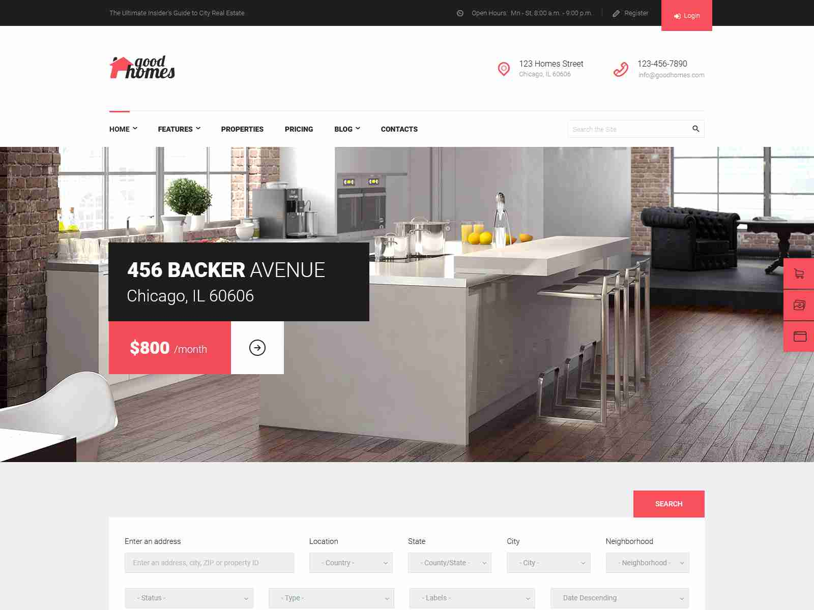 Good Homes | A Contemporary Real Estate WordPress Theme real estate wordpress themes