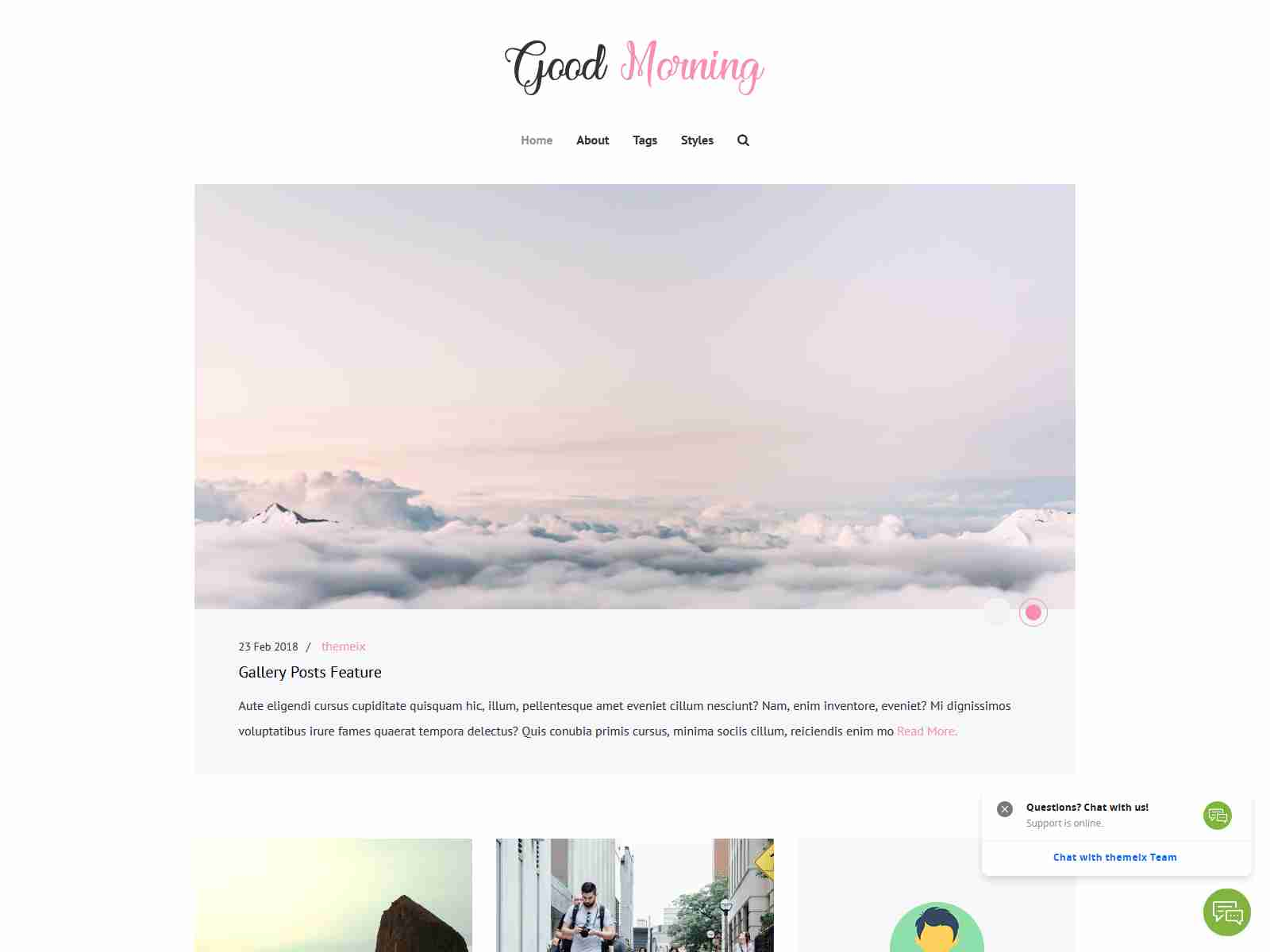Good Morning - SEO Friendly Minimal Ghost Template