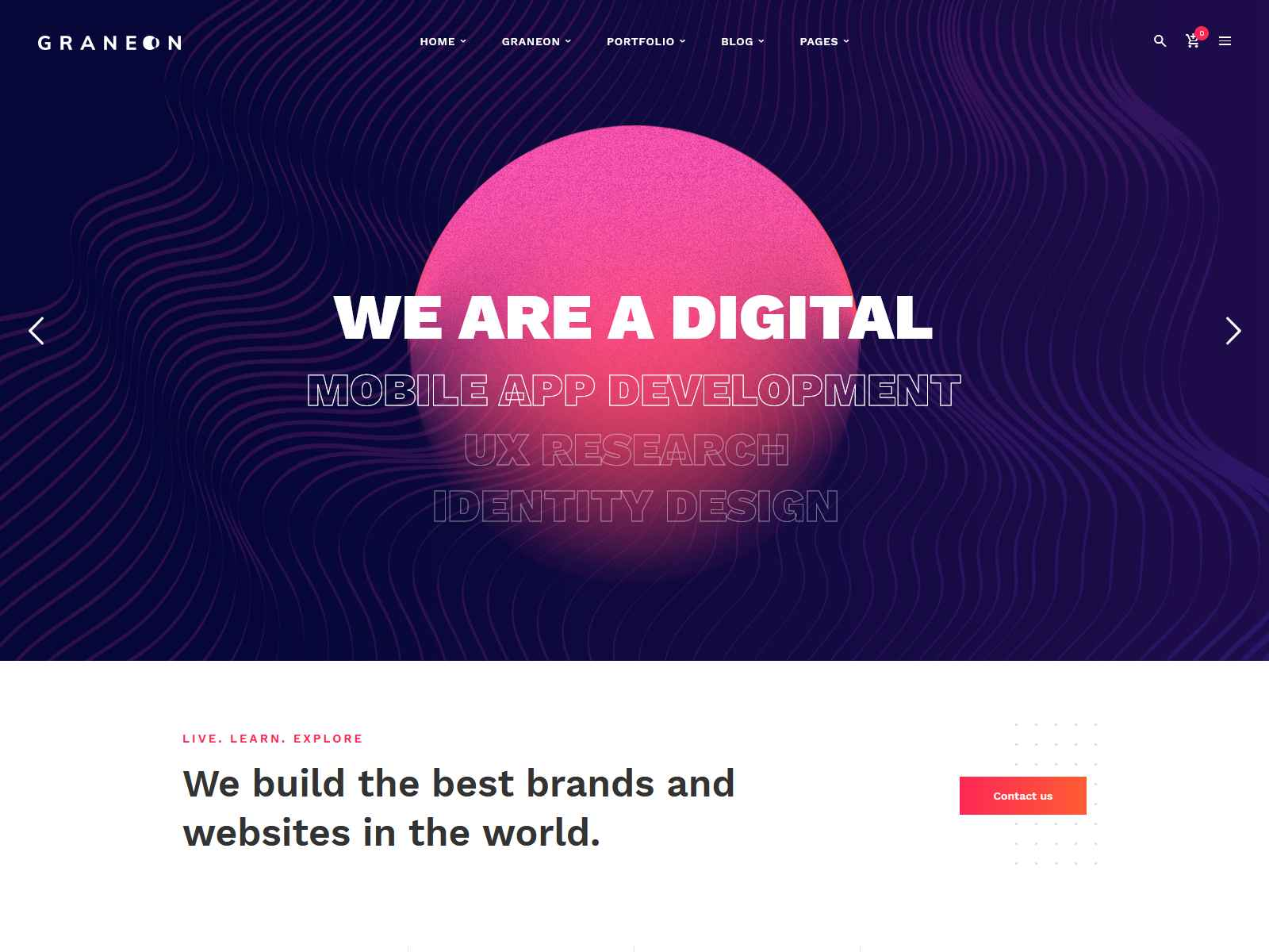Graneon - Creative Artist Portfolio WordPress theme