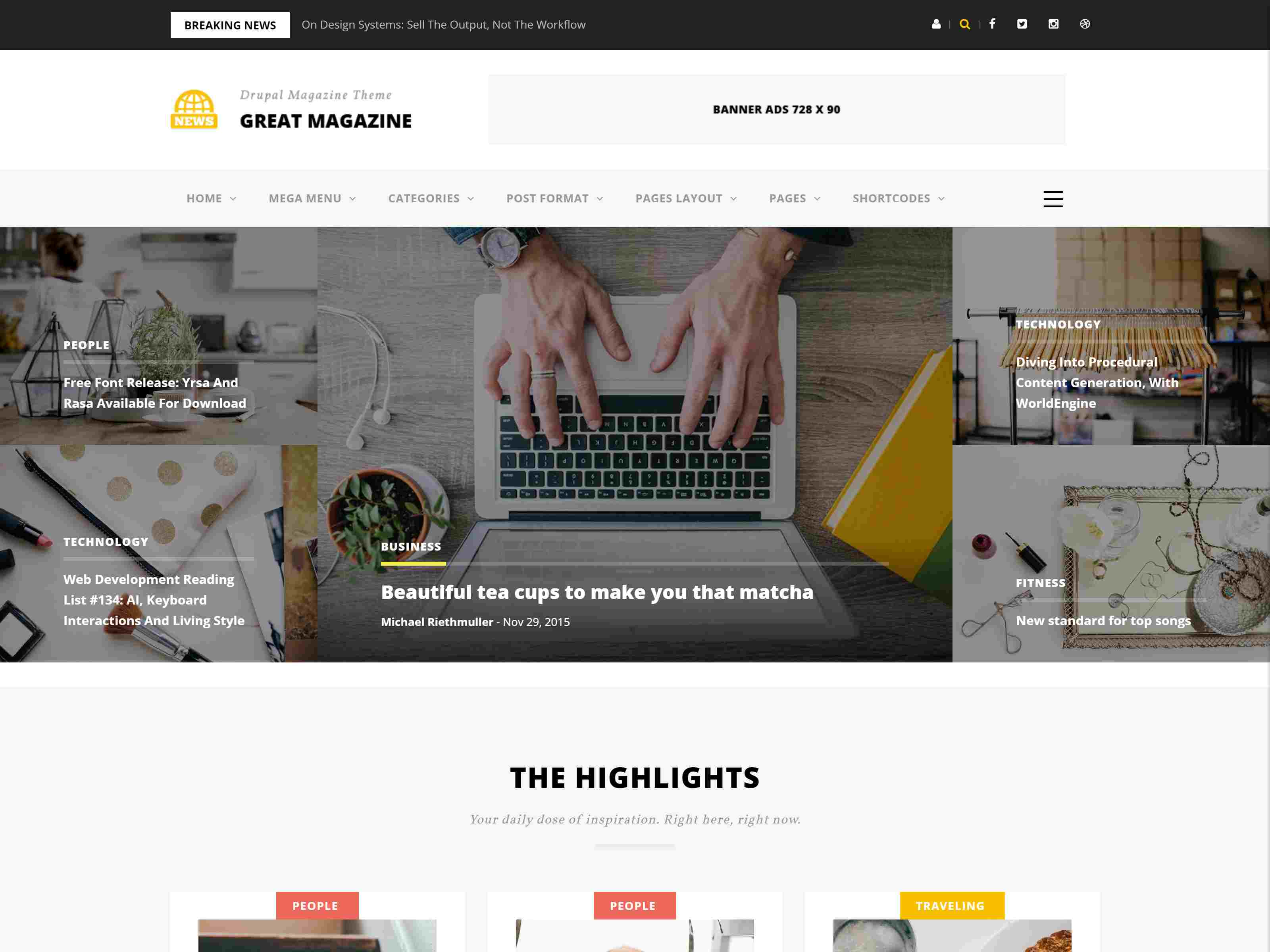 Great - Responsive Magazine News Drupal 8.7 Theme