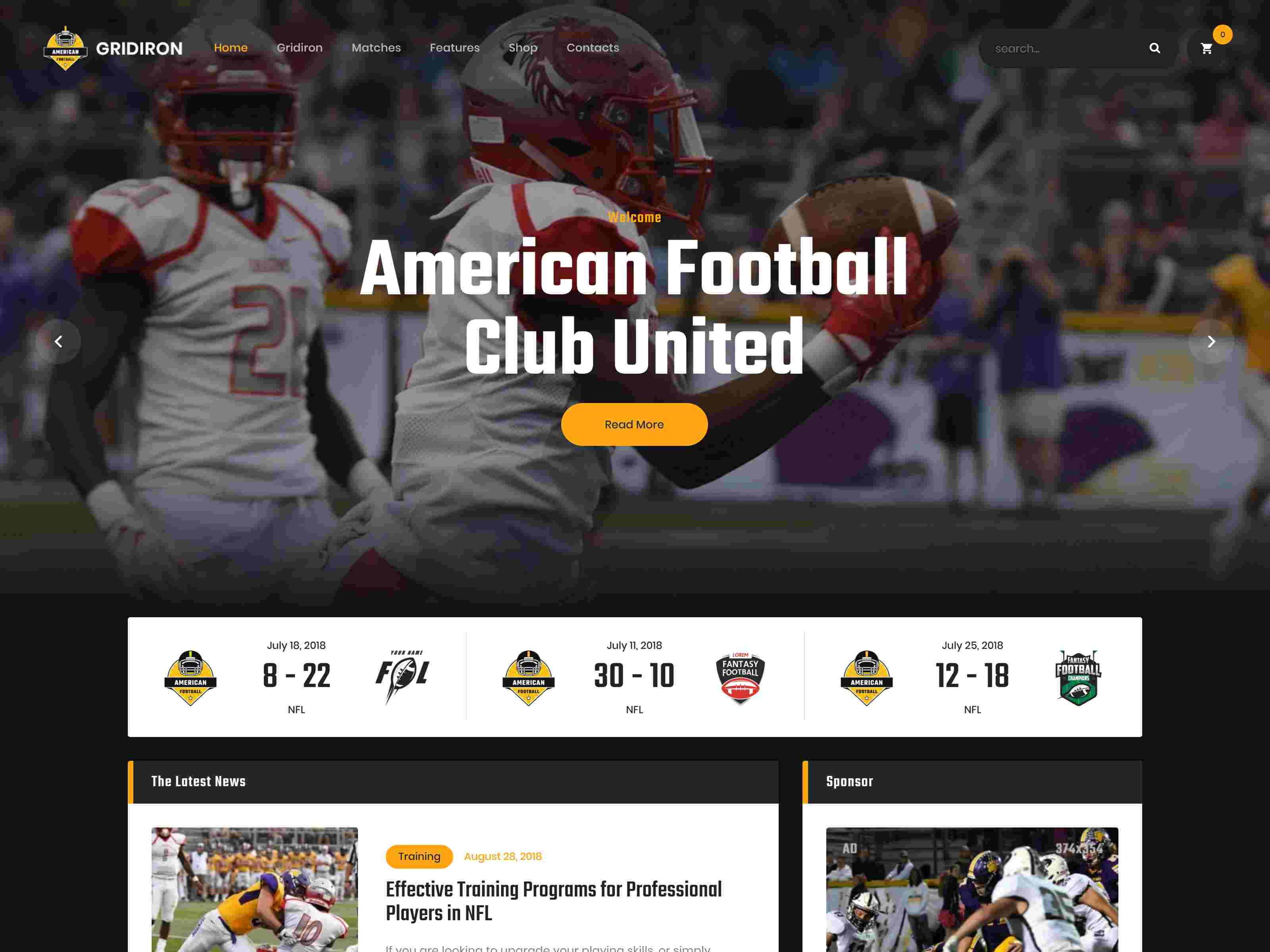 Gridiron | American Football & NFL Superbowl Team WordPress Theme wordpress news themes