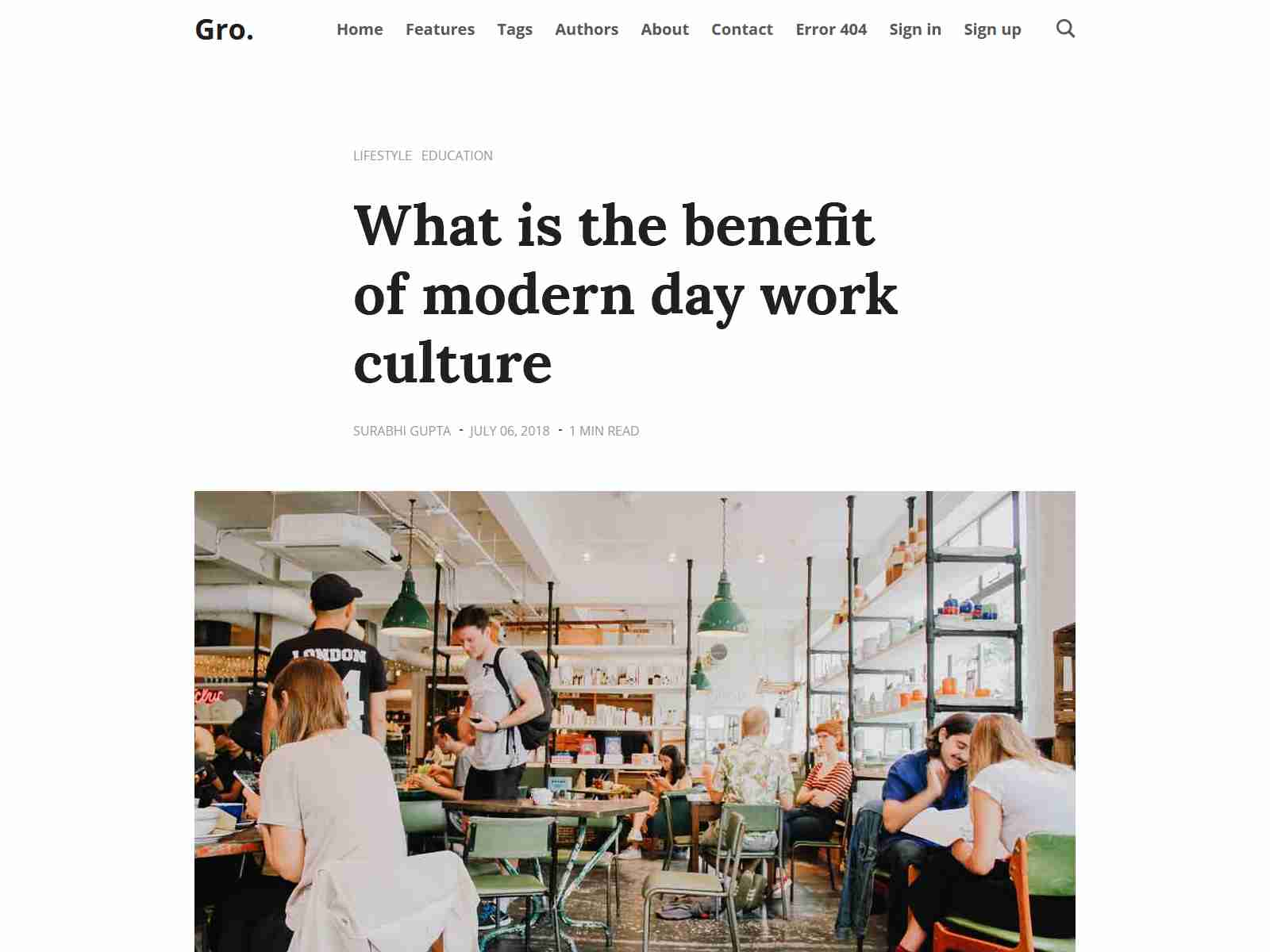 Gro - Big Bold Content focus Ghost Blog and Magazine theme