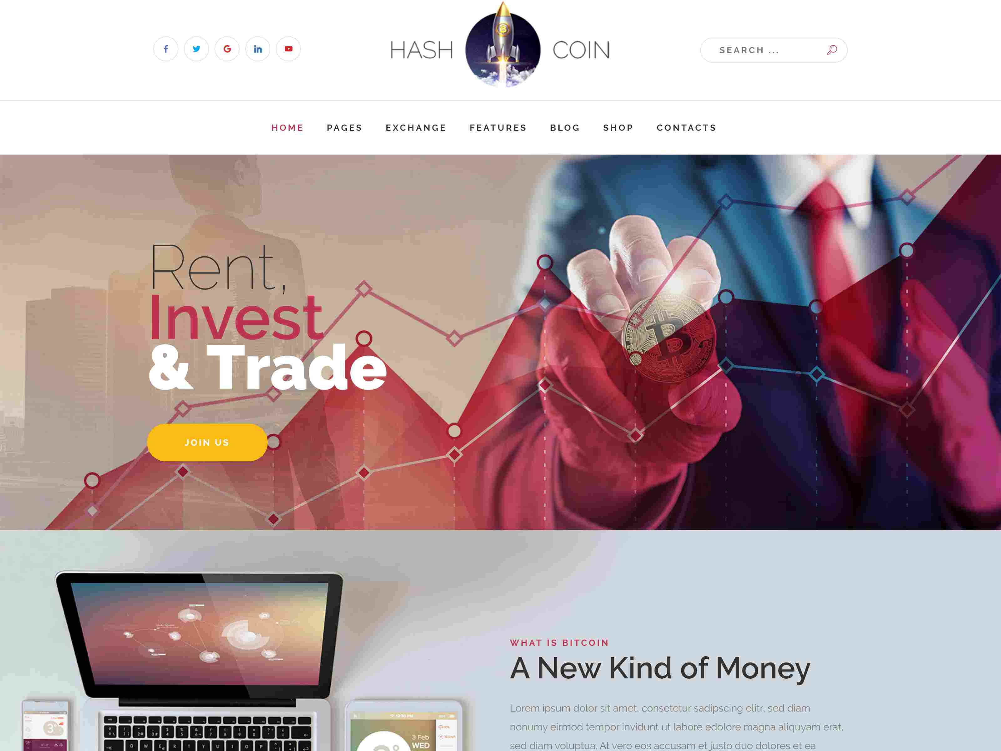 HashCoin Plus - Bitcoin Crypto Currency Joomla Template