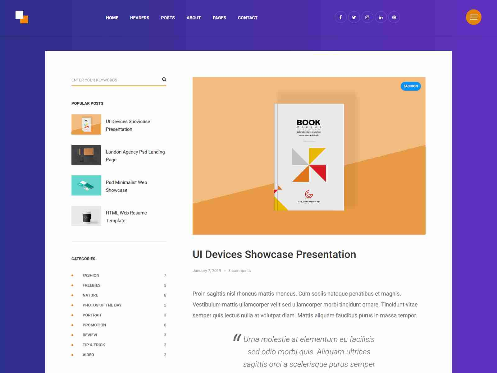 Horizon - Freebies Modern Blog Theme wordpress news themes