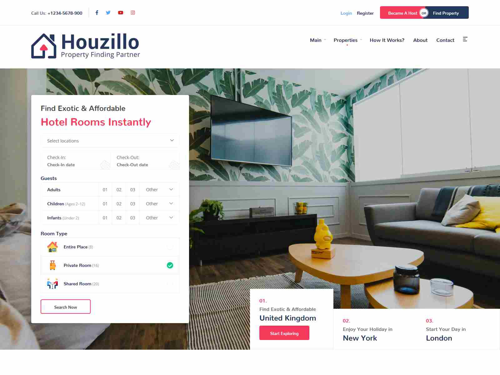 Houzillo - Bookings and Rental WordPress Theme