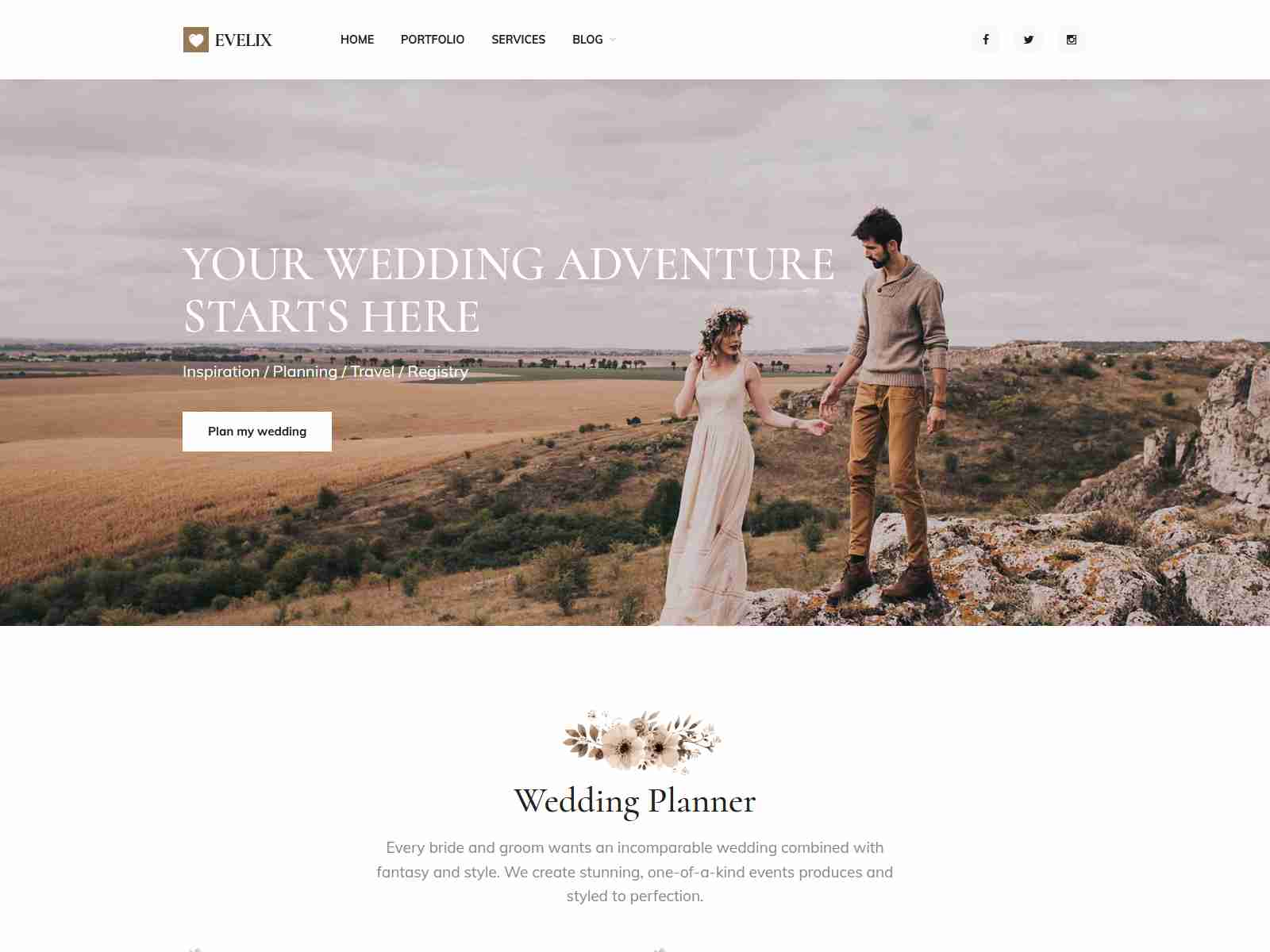 Evelix - Wedding Agency WordPress Theme