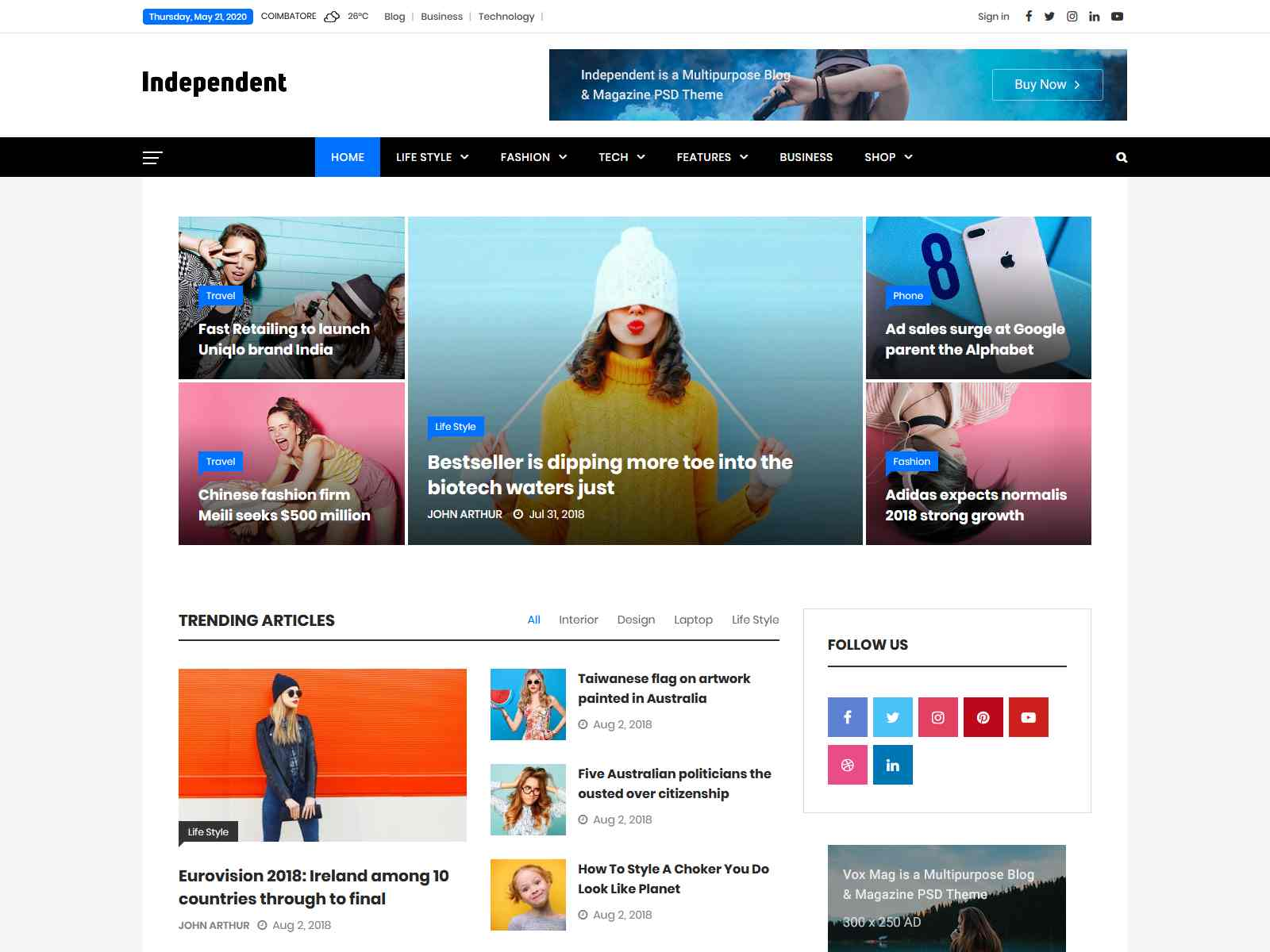 Independent - Multipurpose Blog & Magazine Theme