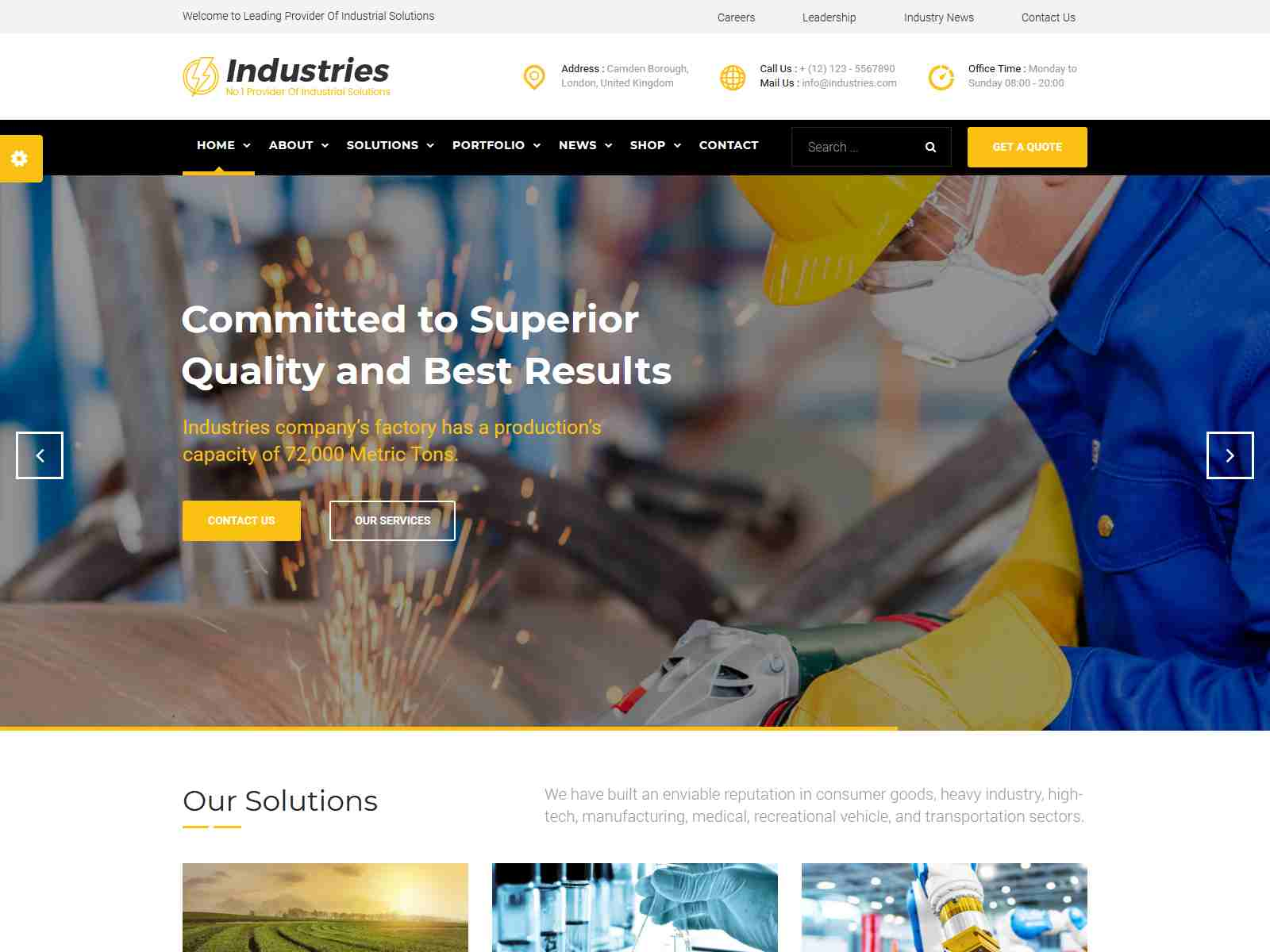 Industries - Factory, Engineering Company, Industrial Business Joomla Template