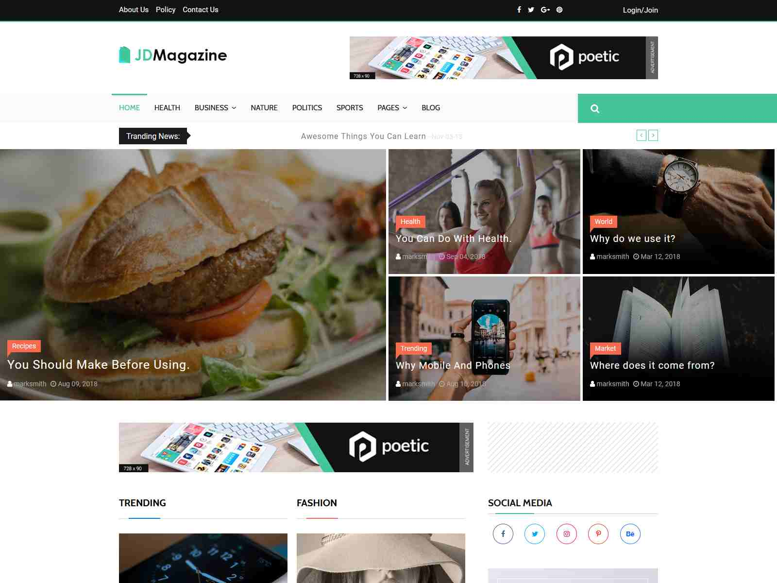 JD Magazine - Best Blog Joomla 3.9 Template