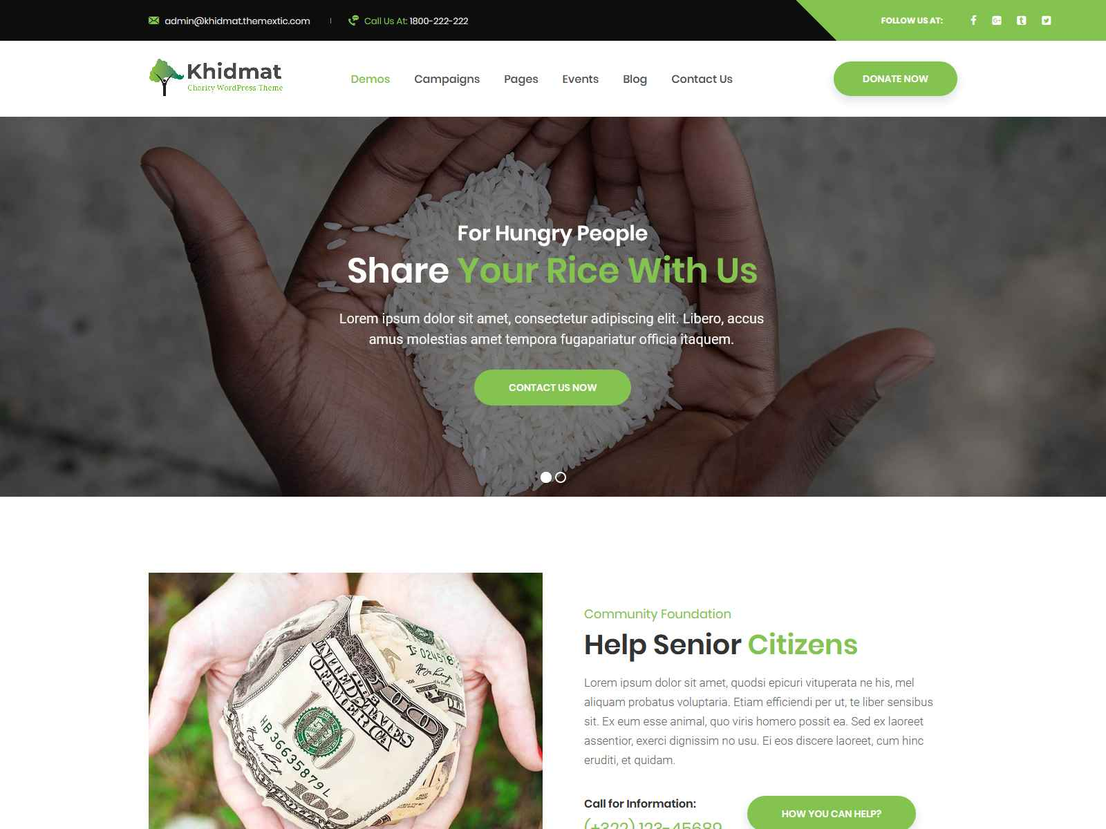 Khidmat - Multipurpose Nonprofit WordPress Theme fundraising WordPress theme