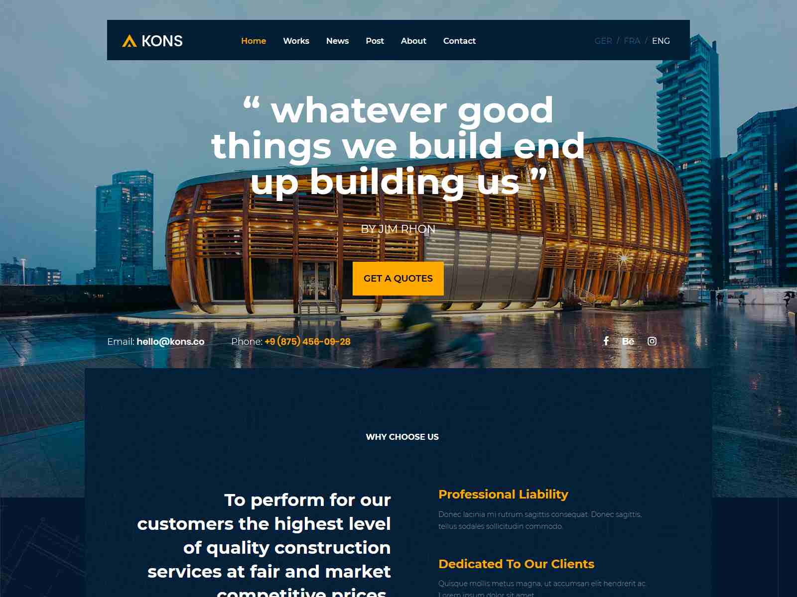 Kons - Construction and Building Joomla Theme architecture wordpress themes, real estate wordpress theme