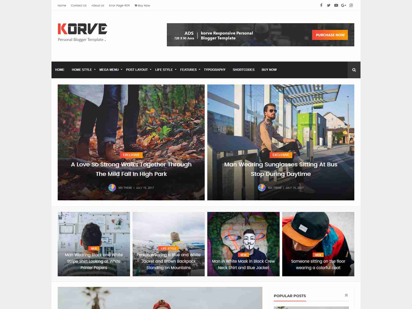 Korve - Personal Blogger Template News Blogger Template