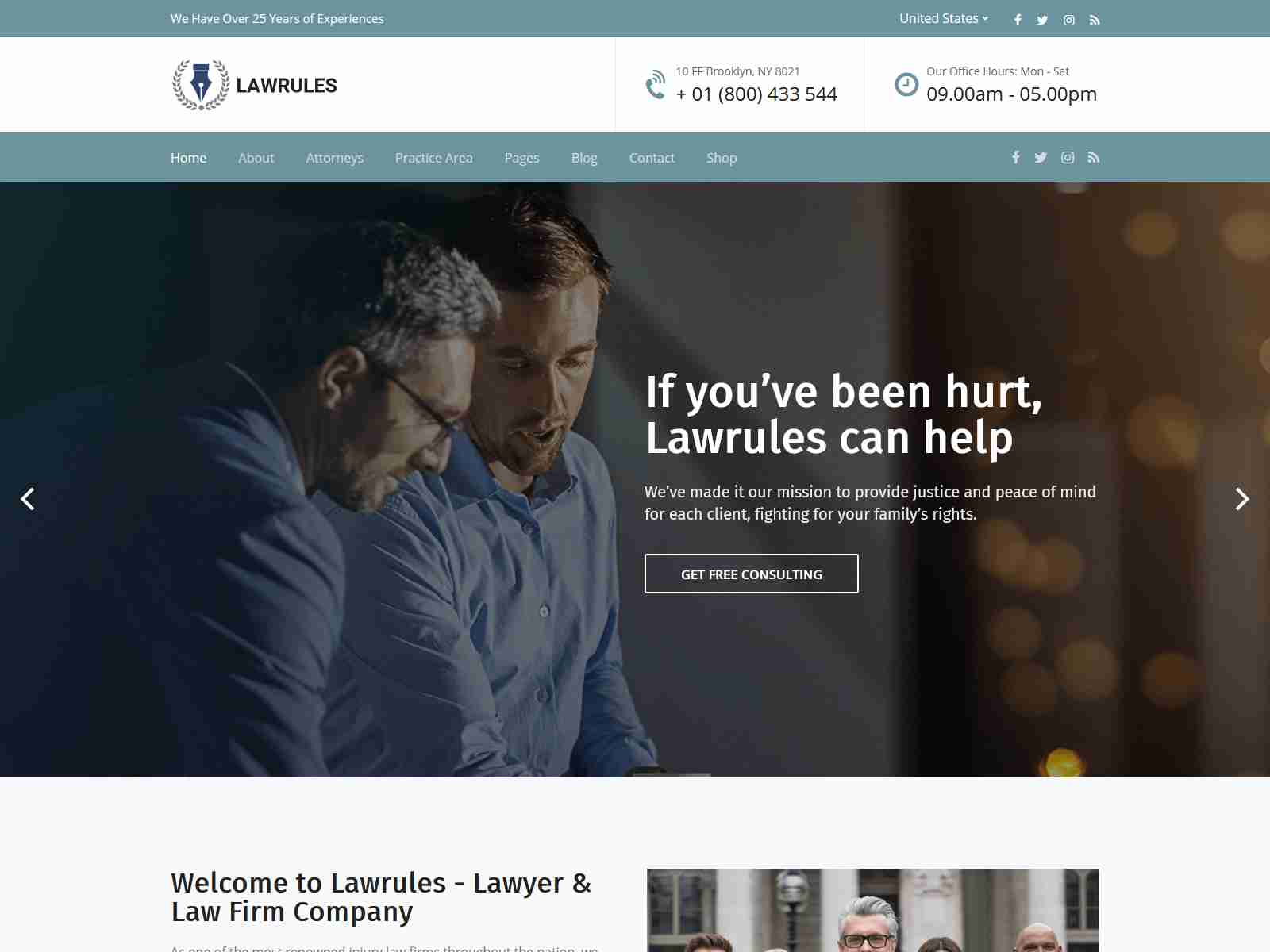 Lawrules | Lawyer WordPress Theme
