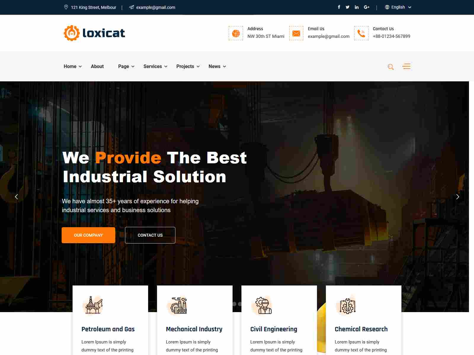 Loxicat - Construction & Industrial WordPress Theme