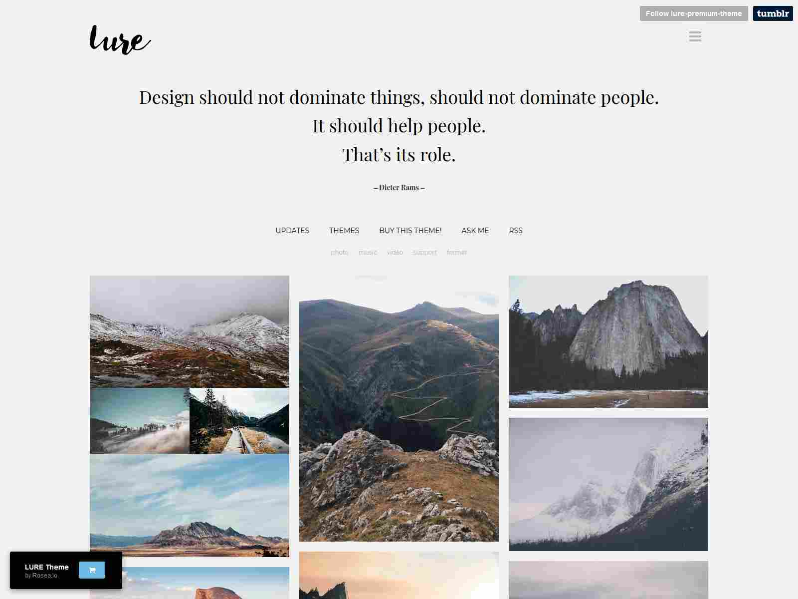 Lure - Responsive Tumblr Theme for Photographers