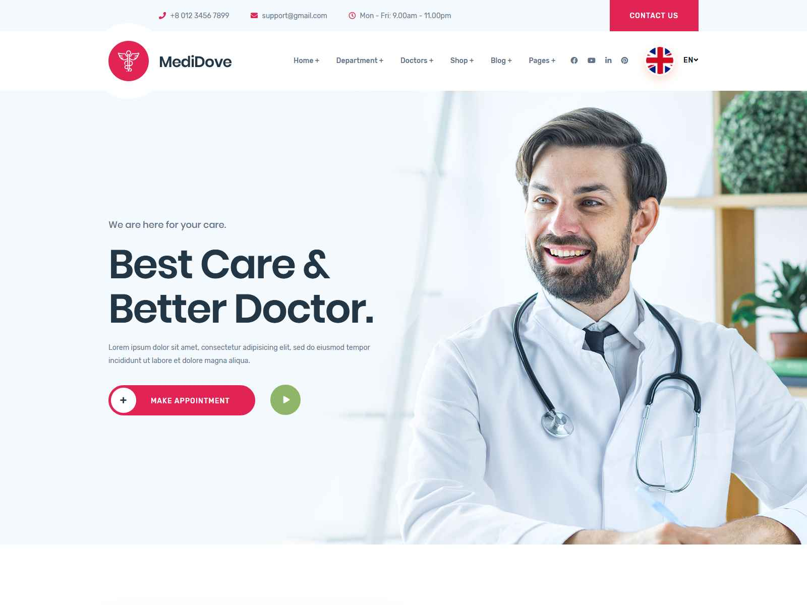 MediDove | Health and Medical WordPress Theme + RTL