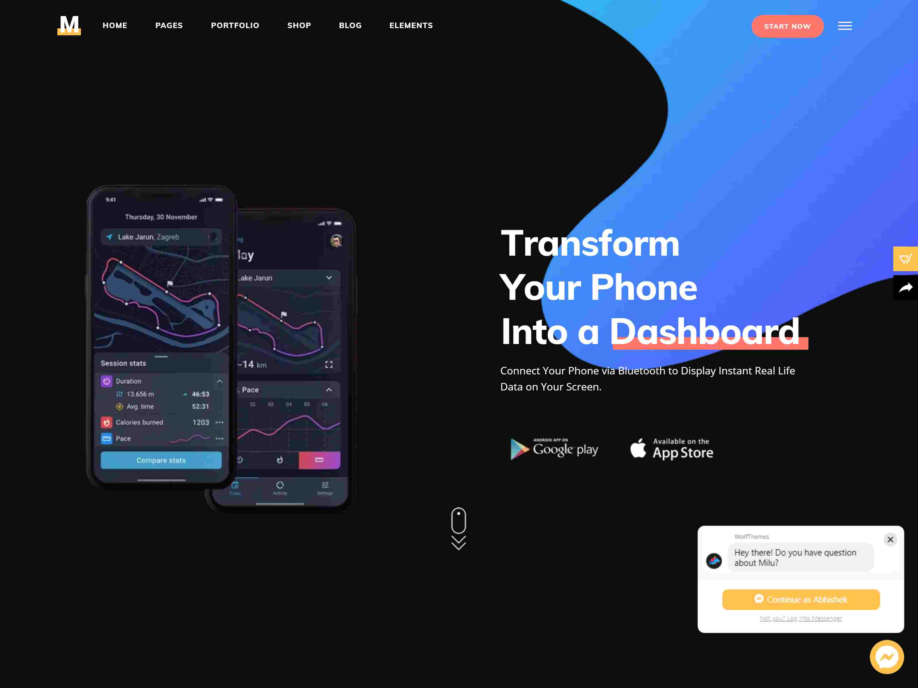 Milu - Tech and App Landing Page Theme software themes, mobile app wordpress themes